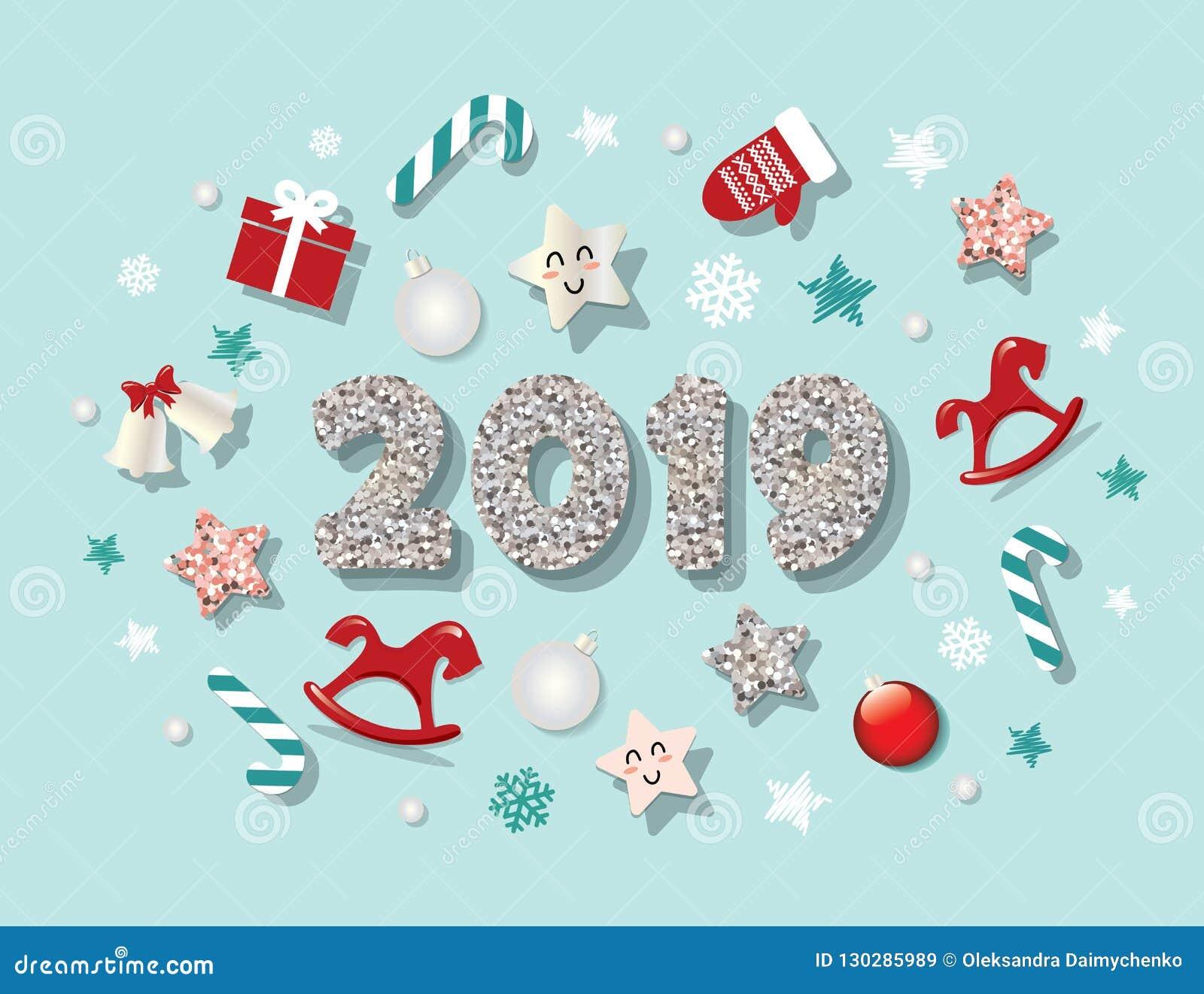 Mall 2019 för lyckligt nytt år Med gulliga dekorativa beståndsdelar För baner affischer, julhälsningkort