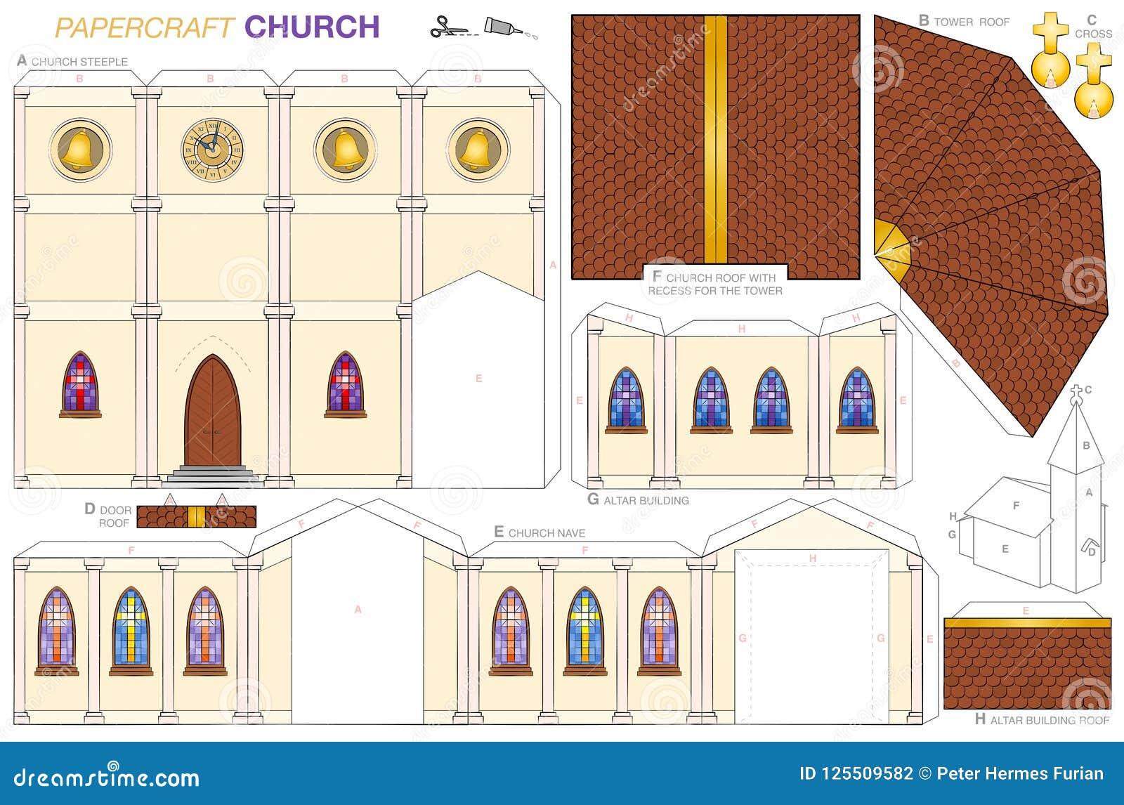 Mall för pappers- hantverk för kyrklig byggnad