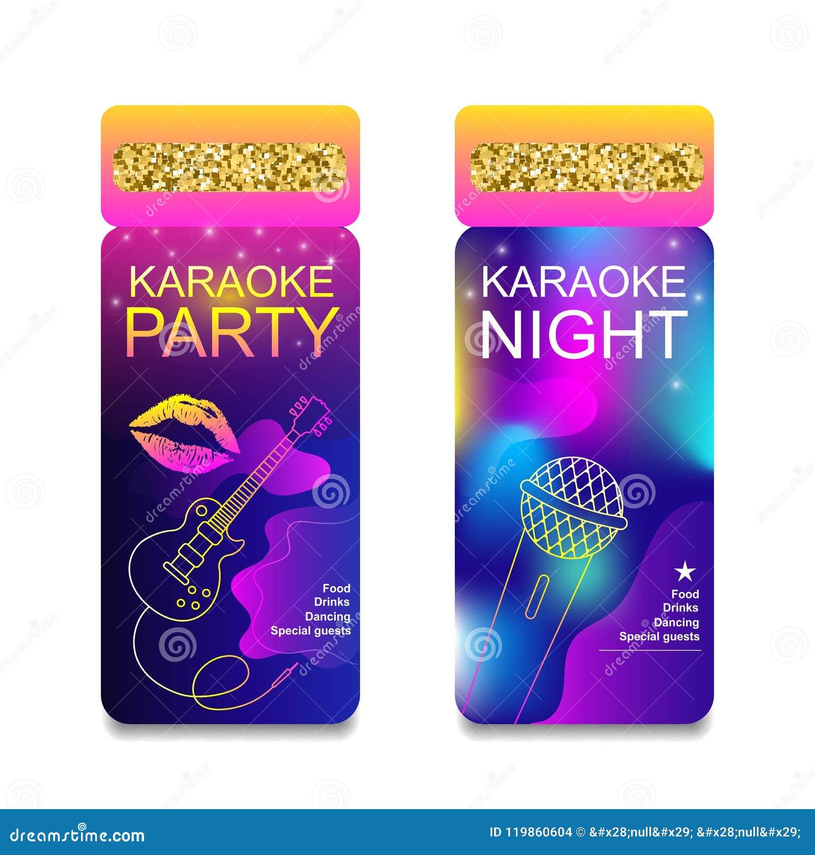 Mall för reklamblad för inbjudan för karaokepartinatt Begrepp för en nattklubb Annonsering av den ljusa karaokestången, parti, di
