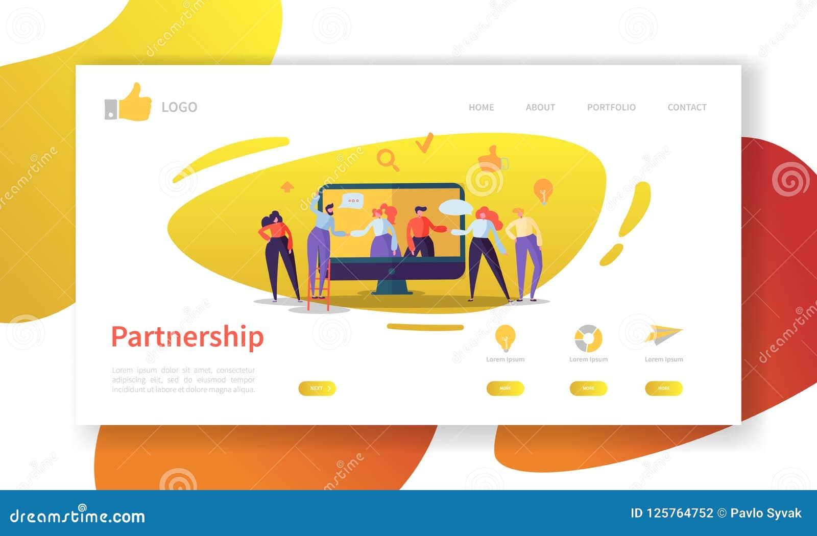 Mall för sida för affärspartnerskaplandning Websiteorientering med plant folkteckensamarbete Lätt att redigera