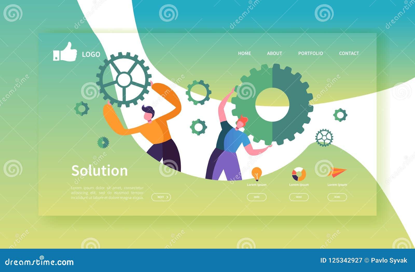 Mall för sida för Websiteutvecklingslandning Mobil applikationorientering med plant affärsfolk som rymmer kugghjul team arbete