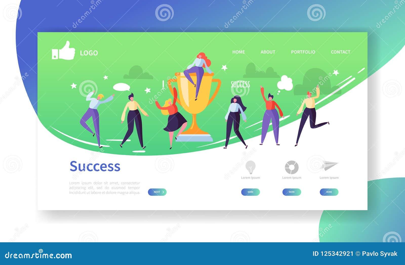 Mall för sida för Websiteutvecklingslandning Mobil applikationorientering med plant folk med guld- bända affärsframgång