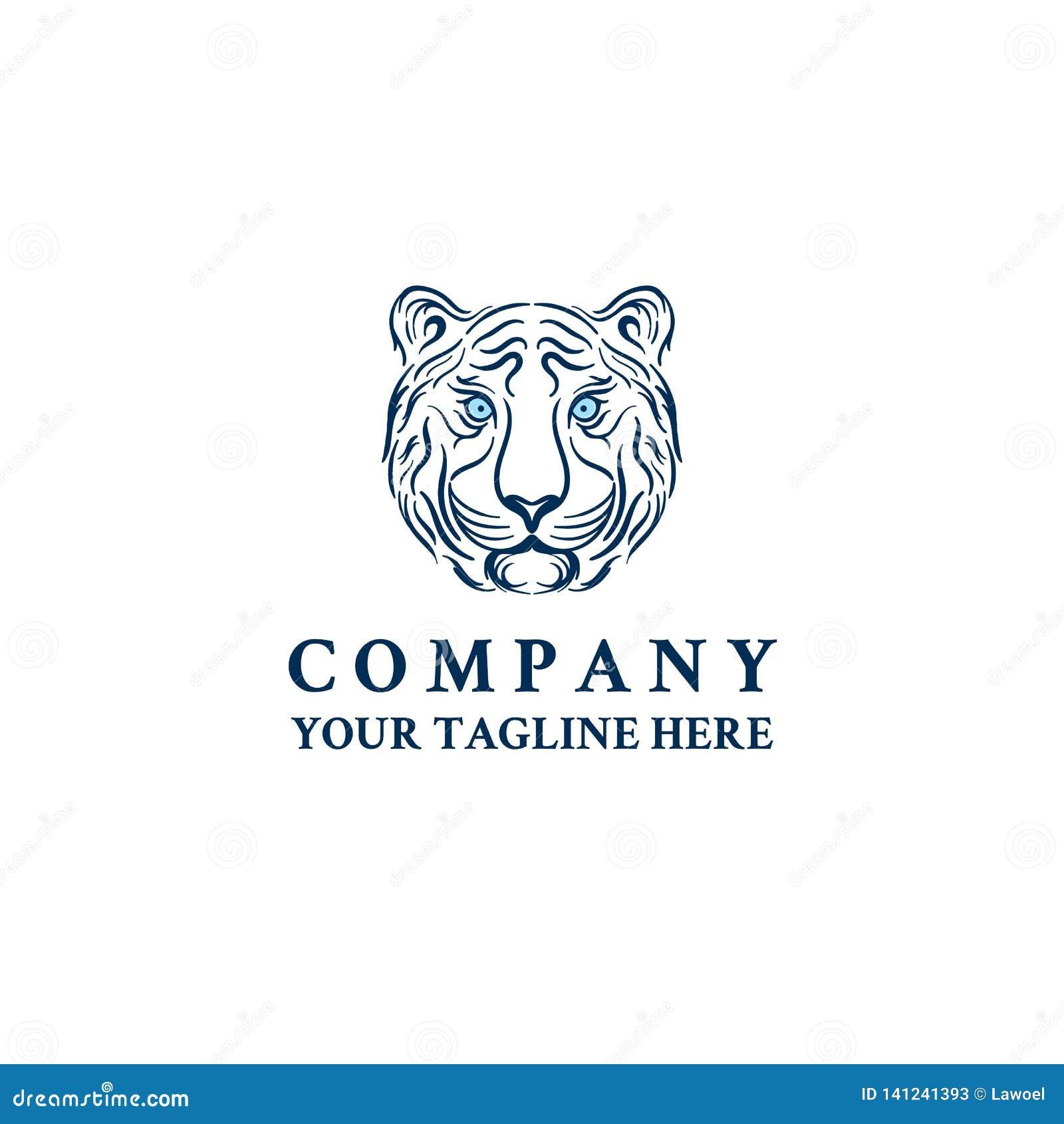 Mall för symbol för vektor för logo för tigerhuvudframsida