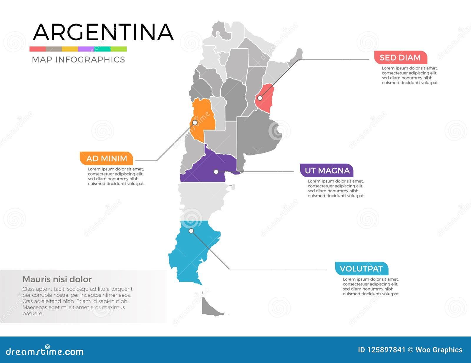 Mall för vektor för Argentina översiktsinfographics med regioner och pekarefläckar