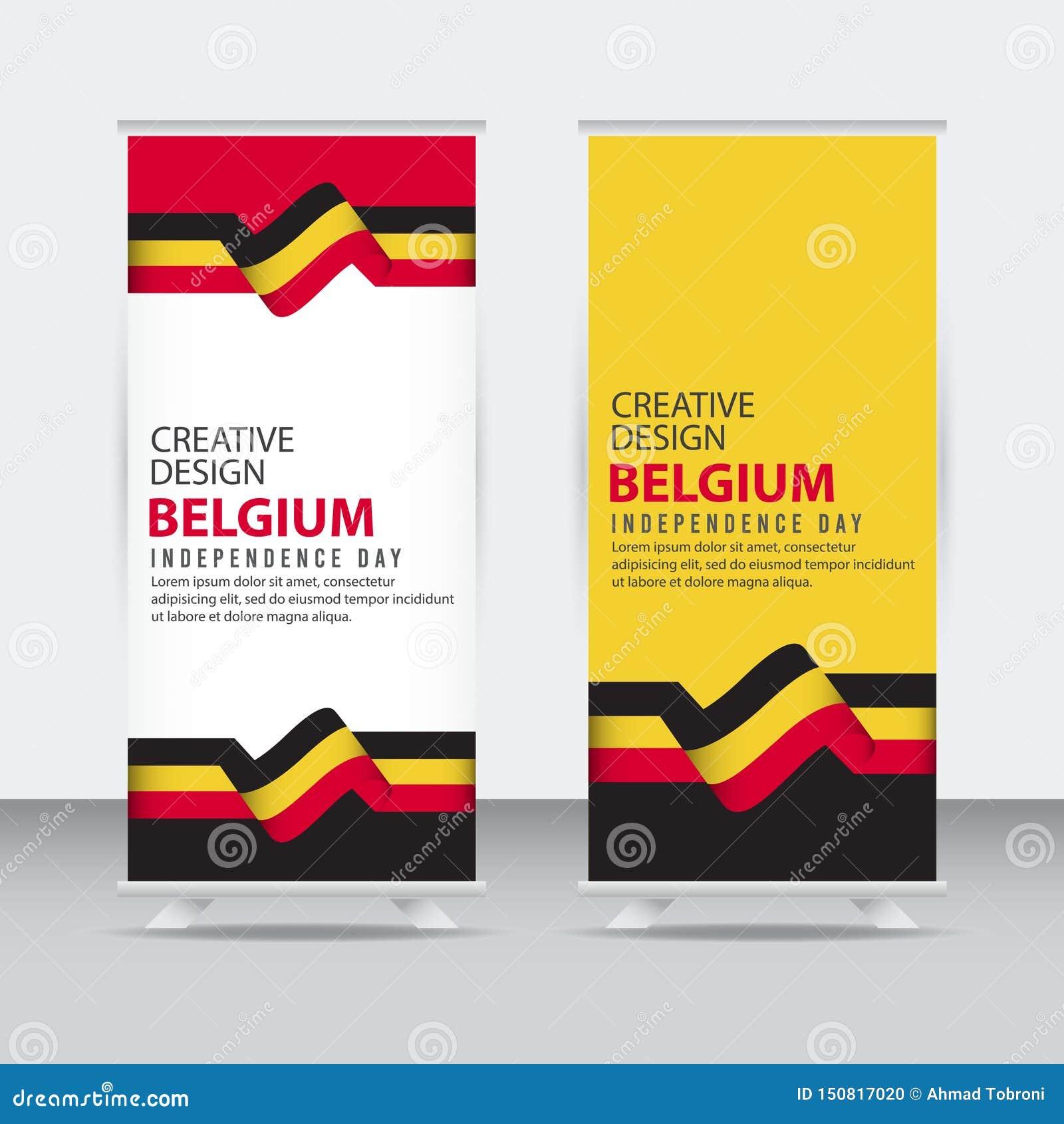 Mall för vektor för illustration för design Belgien för oberoende dagaffisch idérik