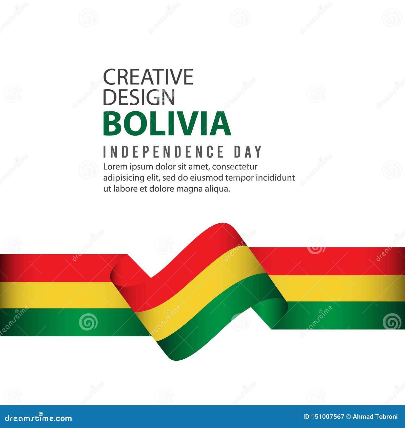 Mall för vektor för illustration för design för Bolivia självständighetsdagenberöm idérik