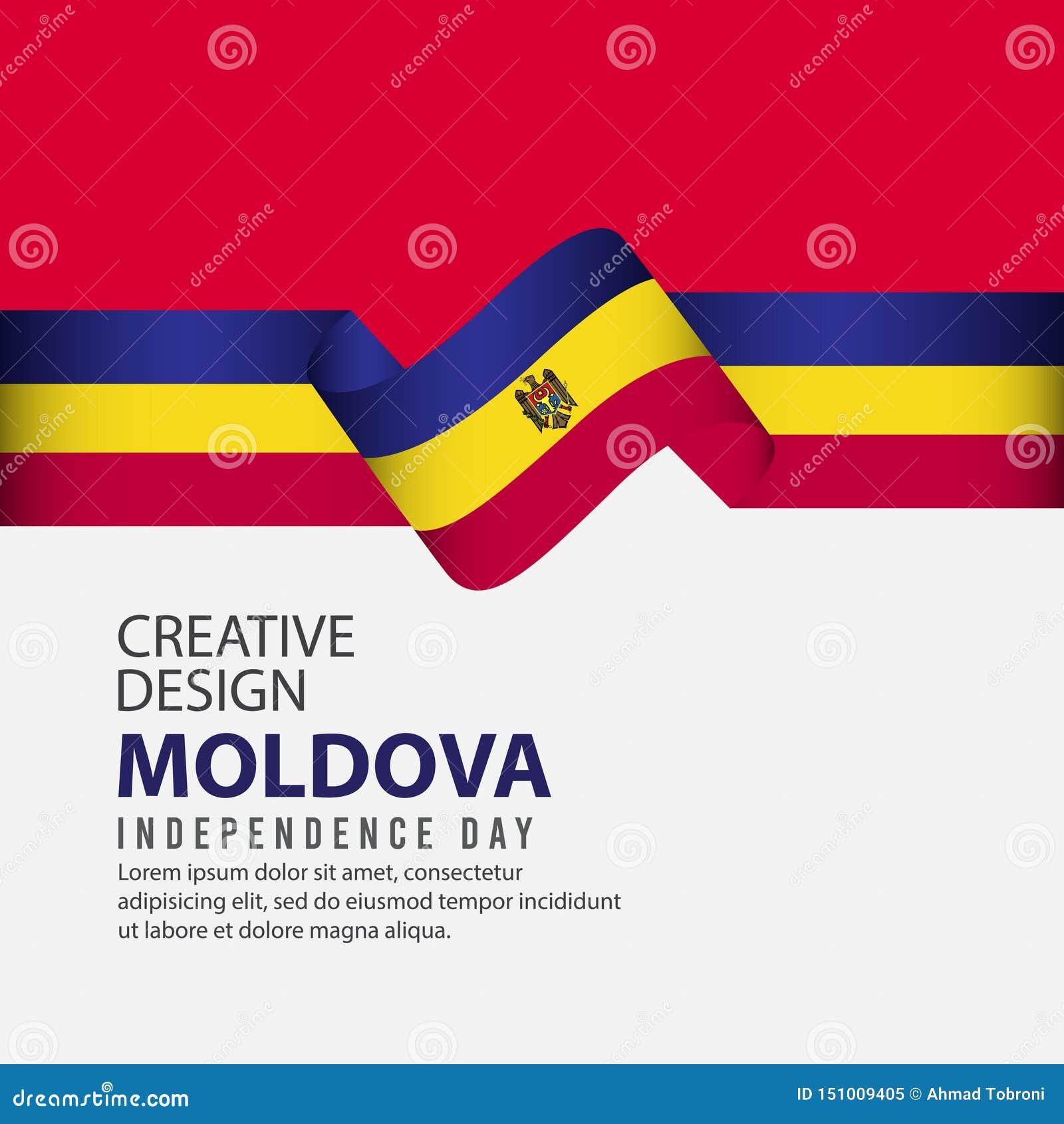 Mall för vektor för illustration för design för Moldavien självständighetsdagenberöm idérik