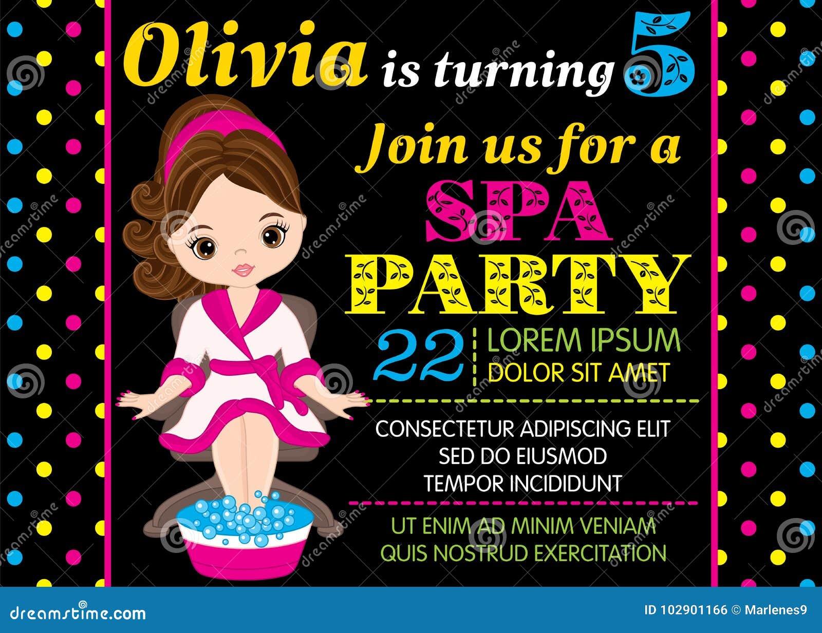 Mall för vektorfödelsedagkort med den gulliga lilla flickan som tar Spa behandling