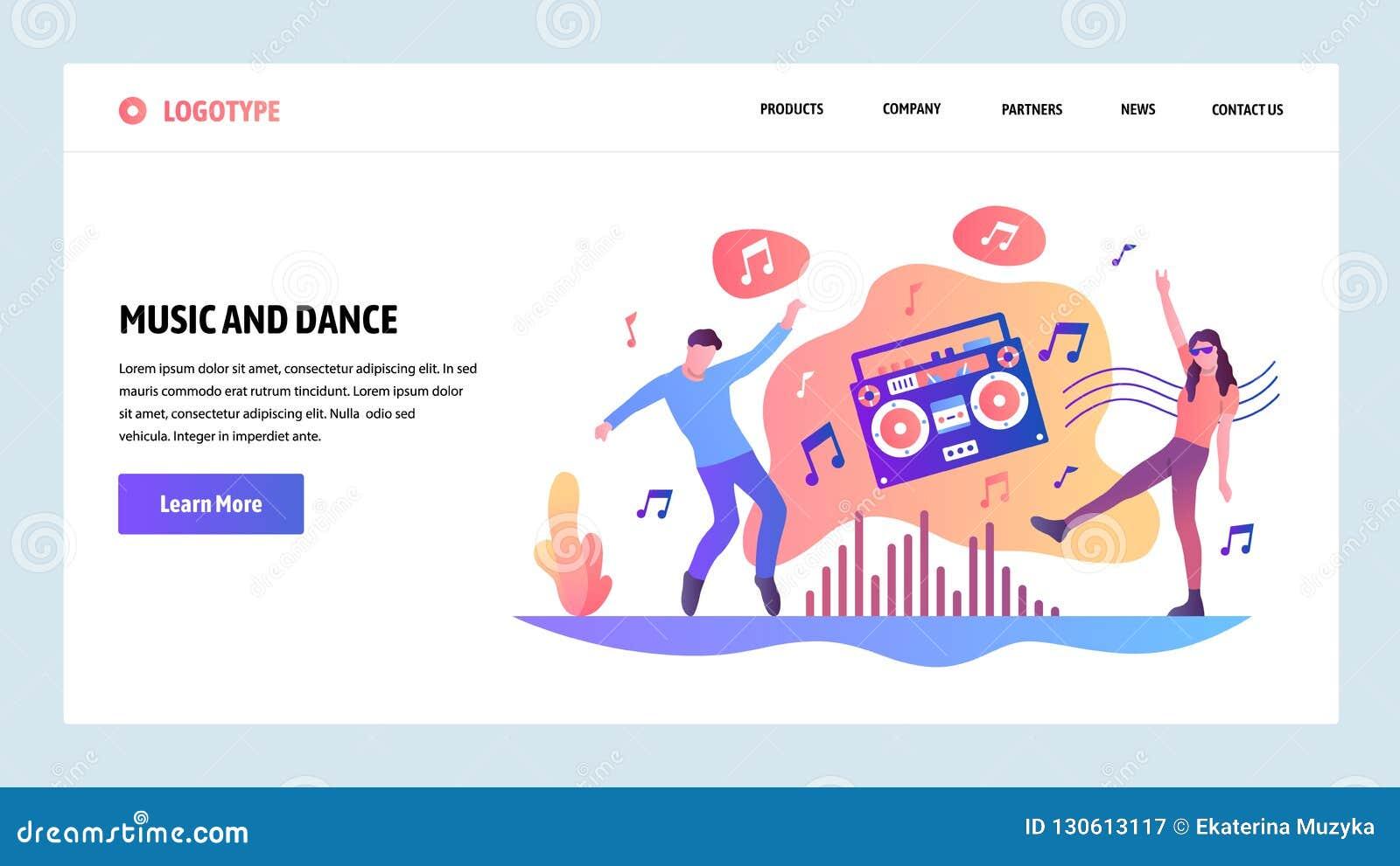 Mall för vektorwebbplatsdesign Lyssnande musik och dansa för folk Landa sidabegrepp för website och mobil
