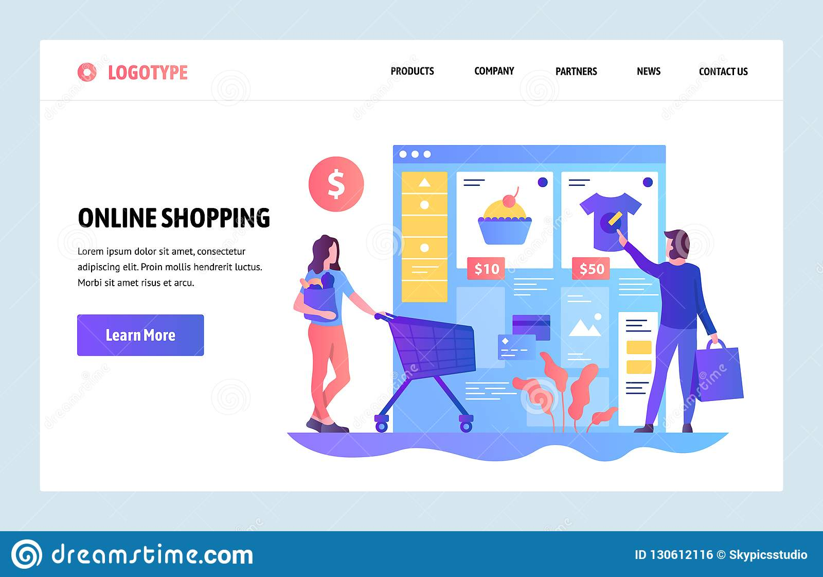 Mall för vektorwebbplatsdesign Online-shopping, internetkläderlager Sale och consumerism Landa sidabegrepp