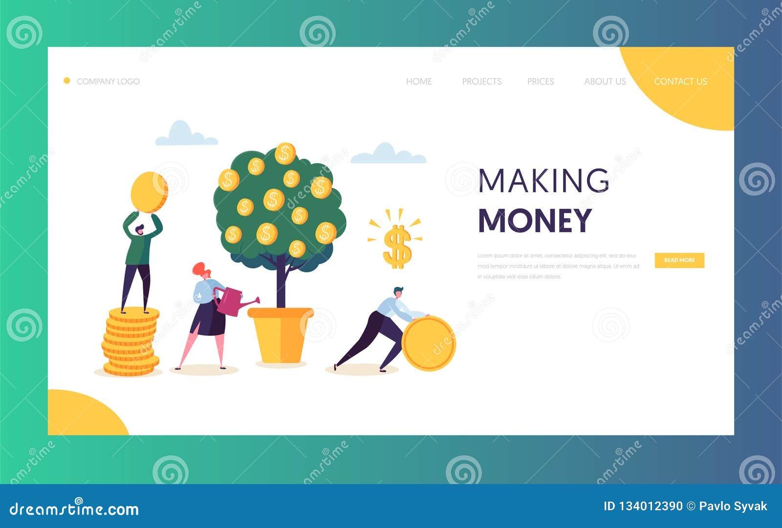 Mall för Website för finansiell tillväxt för affär huvud Kvinna som bevattnar pengarträdet Tecken Team Collecting Golden Coins