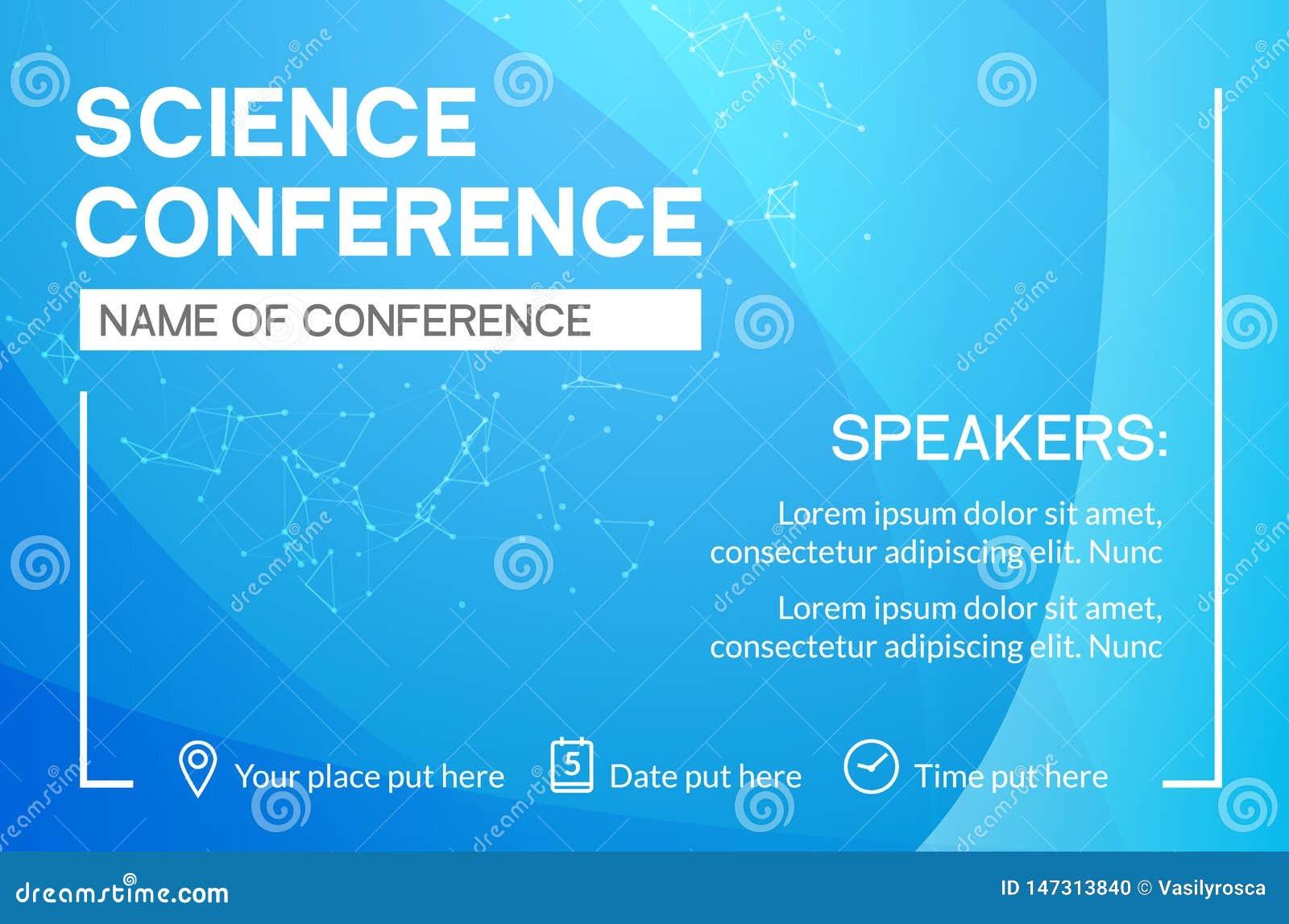 Mall f?r design f?r vetenskapskonferensaff?r M?te f?r advertizing f?r marknadsf?ring f?r vetenskapsbroschyrreklamblad