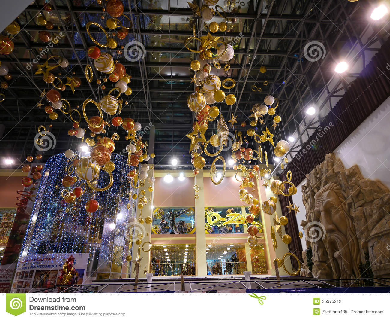 Mall New Year Christmas Decorations Editorial Photography Image