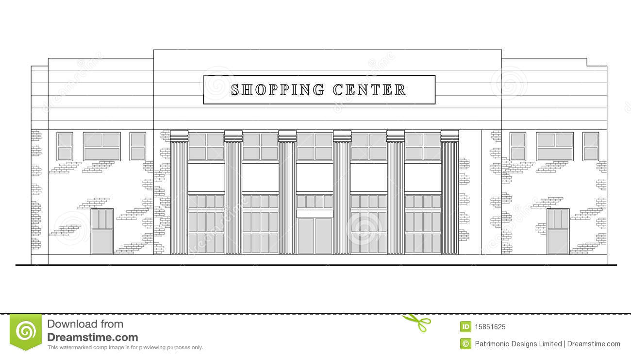 Commercial Front Elevation Designs : Mall shopping center building stock illustration