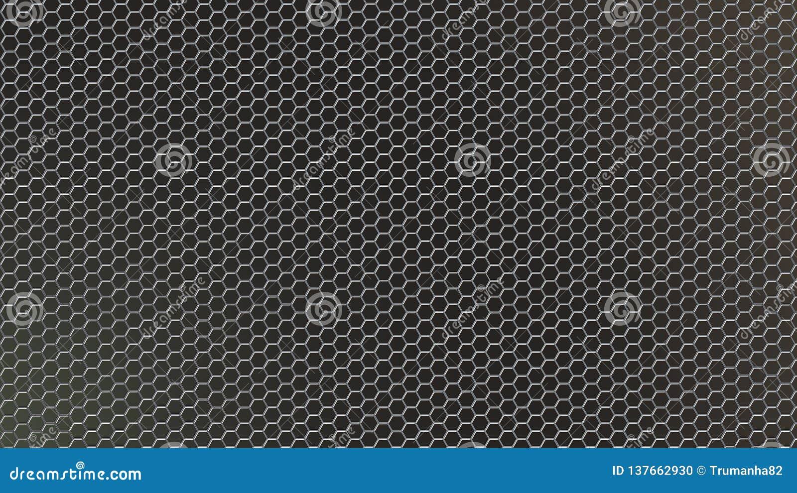 Malla metálica hexagonal brillante del extracto en fondo oscuro