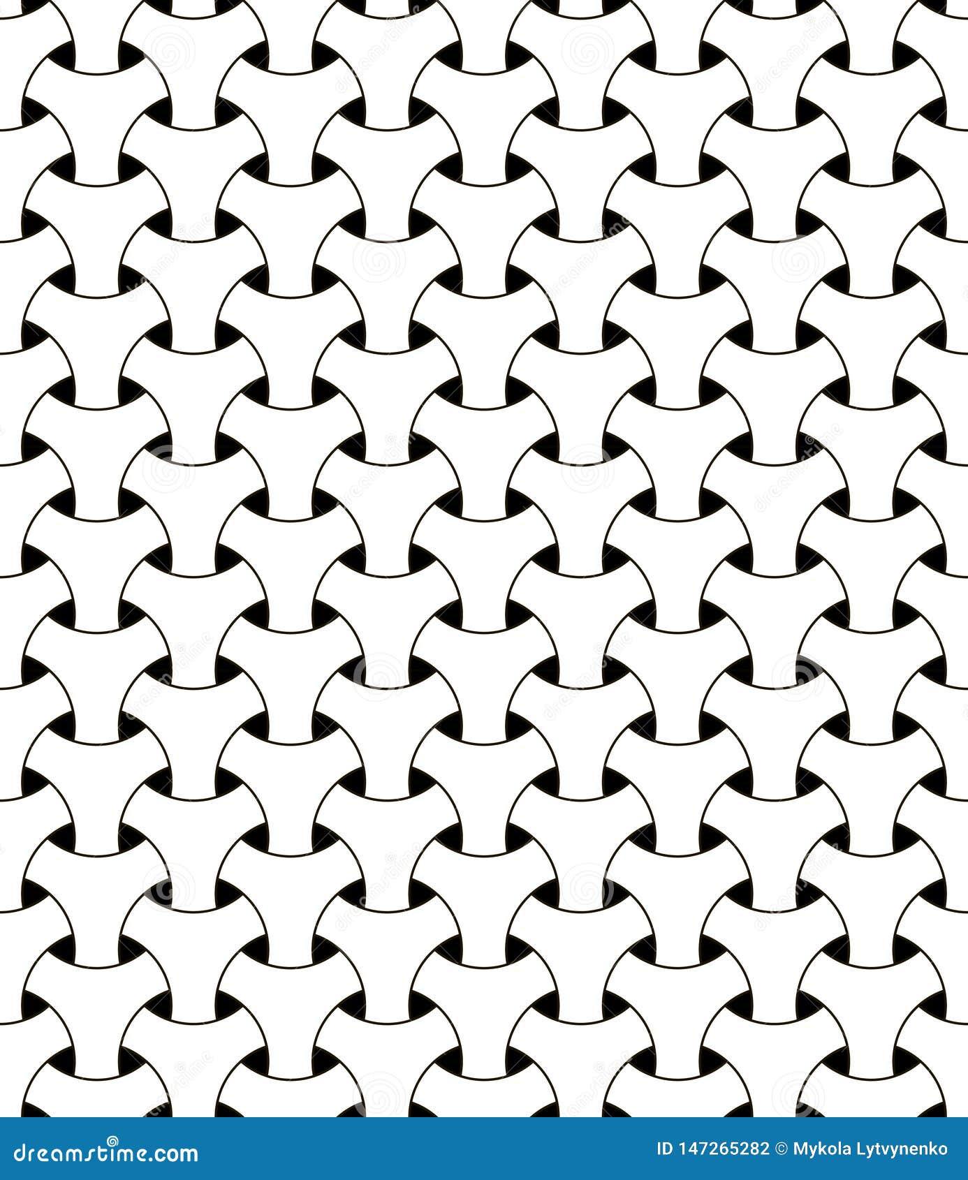 Malla triangular de la malla del modelo de la ilusión geométrica inconsútil del vector que pesca círculos blancos y negros con ef
