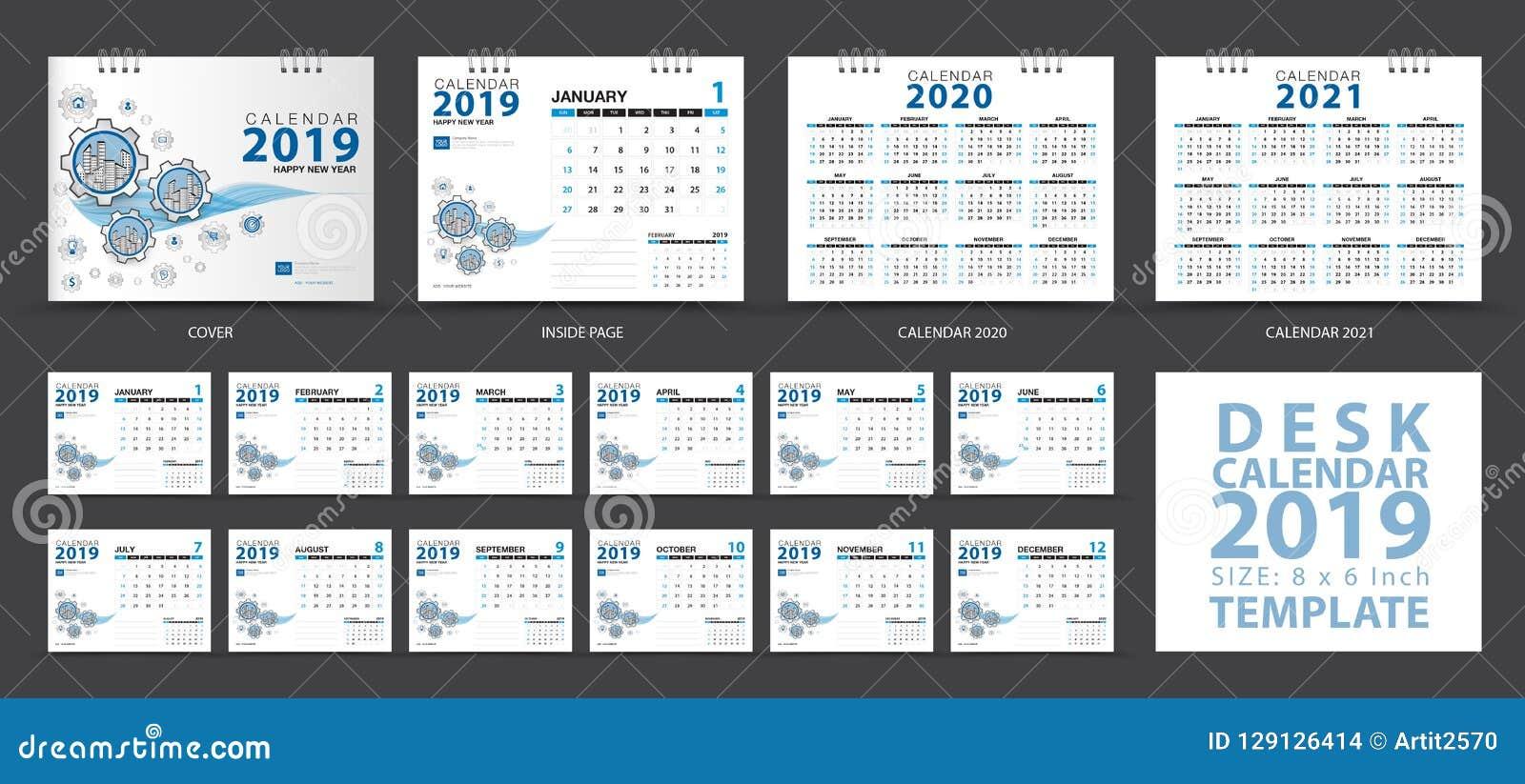 Mallen 2019, uppsättningen för skrivbordkalendern av 12 månader, Calendar 2020-2021 konstverk, stadsplaneraren, veckastarter på s