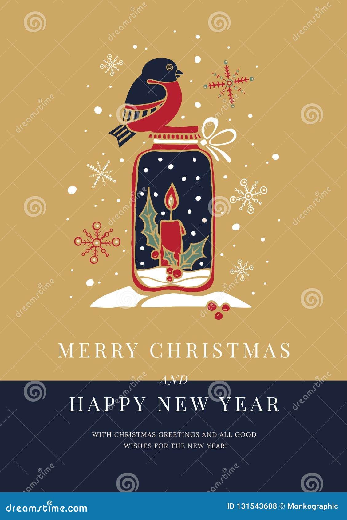Mallhälsningkort med bild av domherren; dekorativ ljusstake med stearinljuset; snöflingor