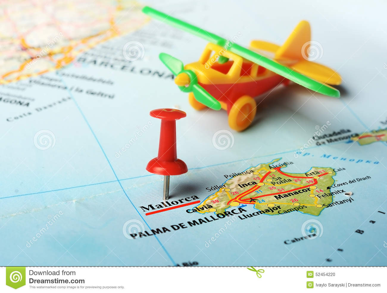 Mallorca Island Spain Map Airplane Stock Photo Image Of