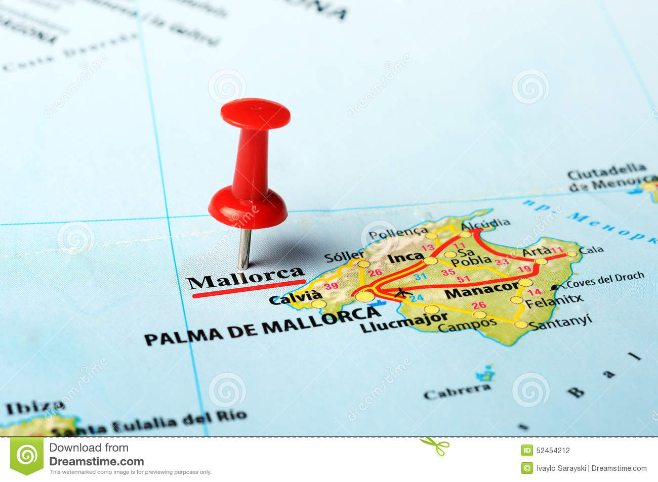 Mallorca Island Spain Map Stock Photo Image Of Romantic 52454212