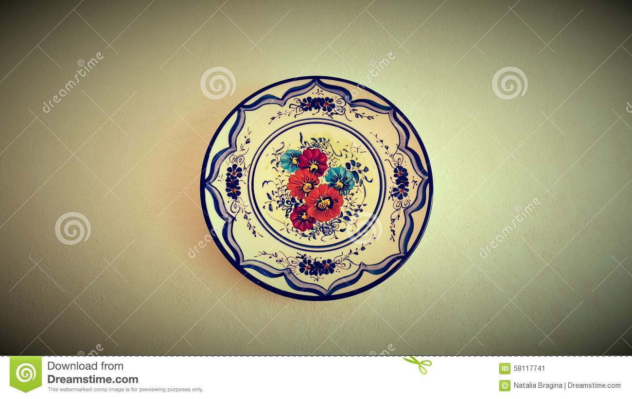 Mallorcan Decorative Wall Plate Stock Image - Image of flowers ...