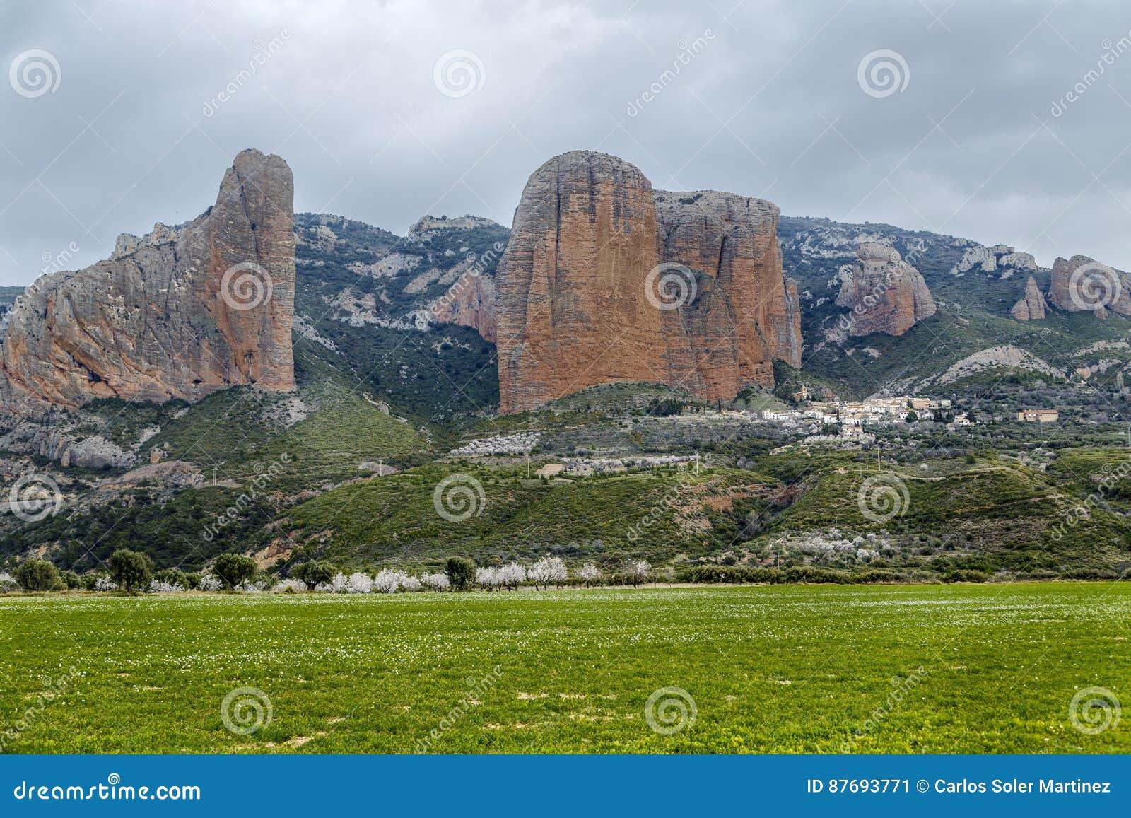 Mallos De Riglos are the picturesque rocks in Huesca Spain