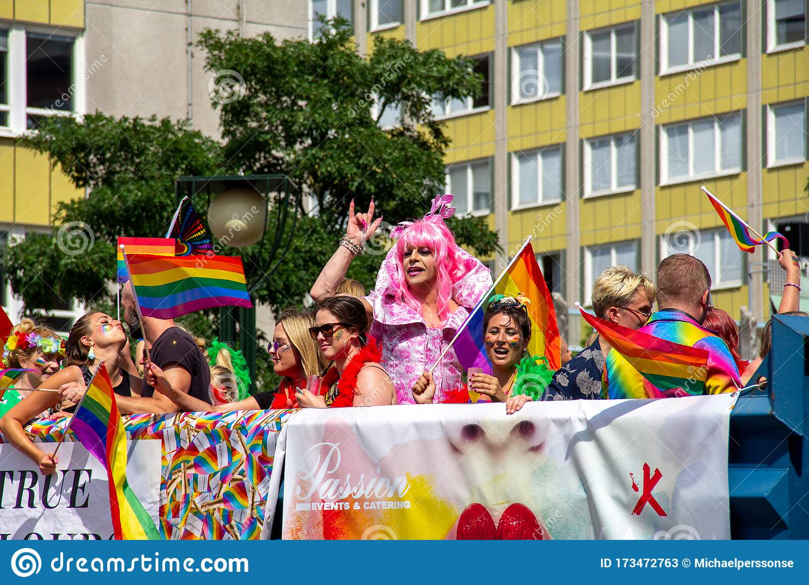San Francisco Pride Parade Colorful Trolley Float