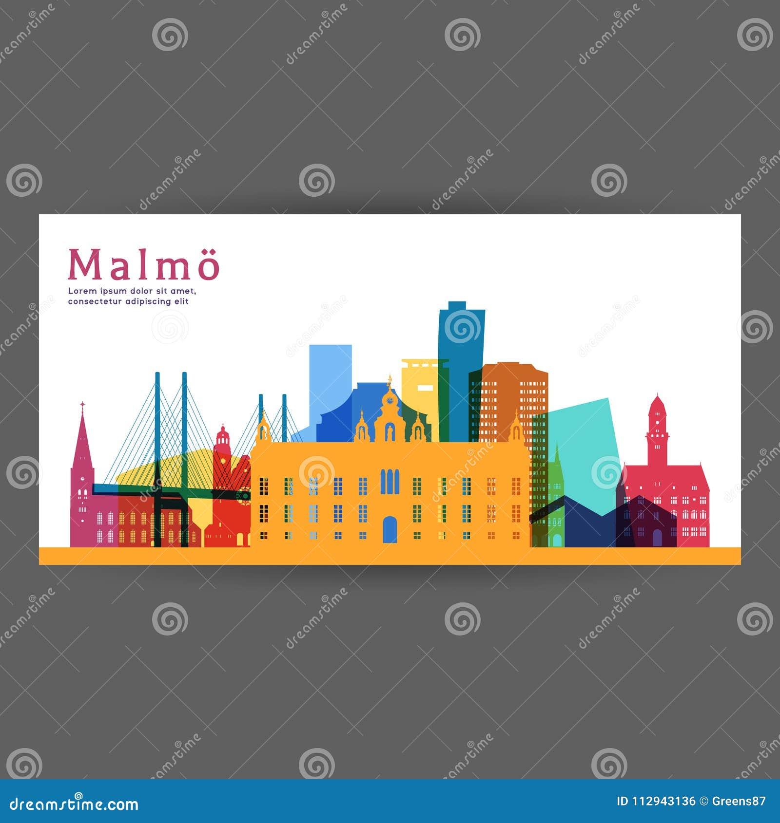 Malmo kleurrijke architectuur vectorillustratie