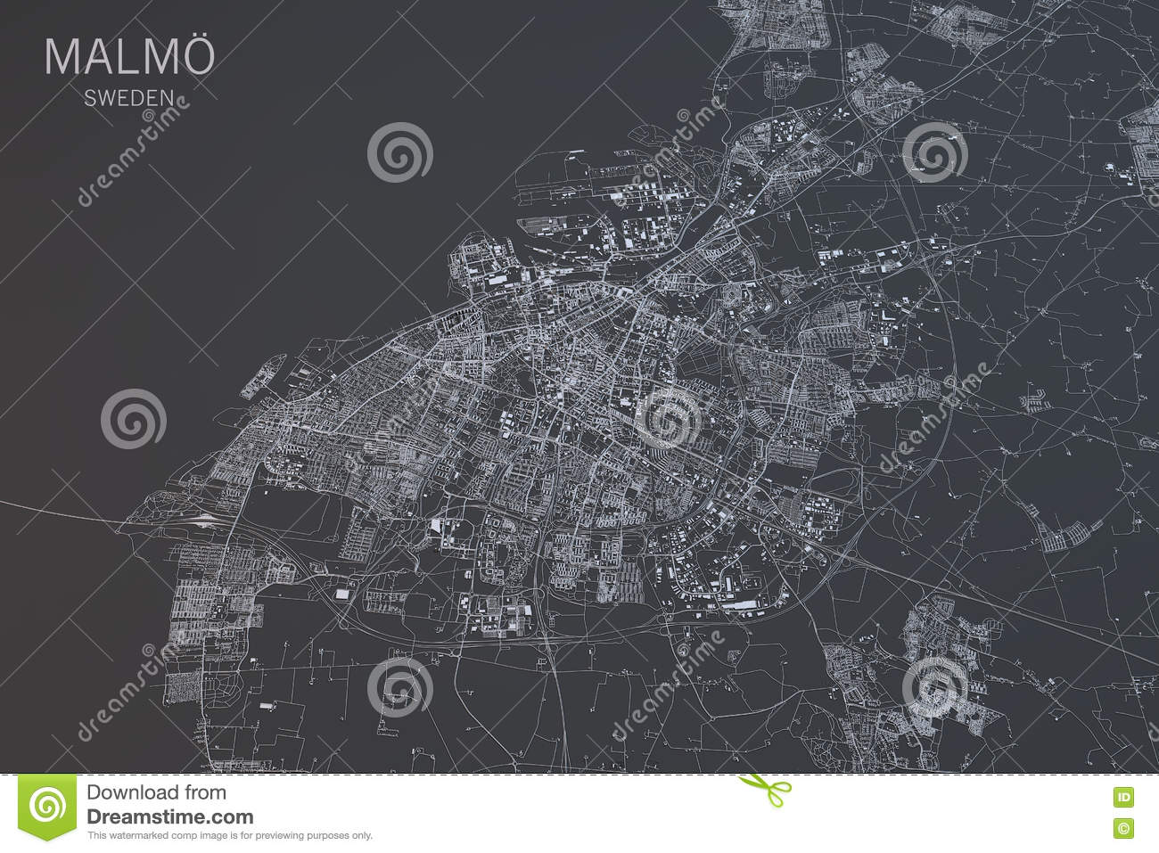 Malmo Map Satellite View City Sweden Stock Illustration Image - Sweden map satellite