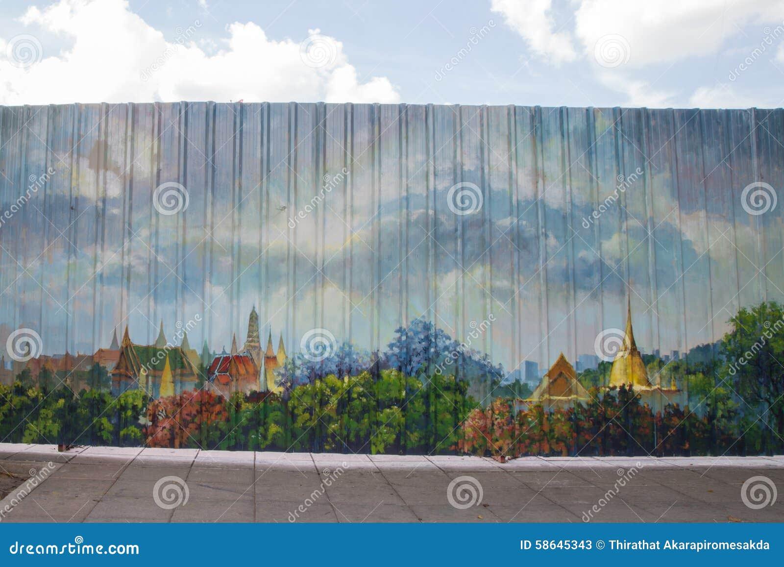 Malowidło ścienne na metalu ogrodzeniu