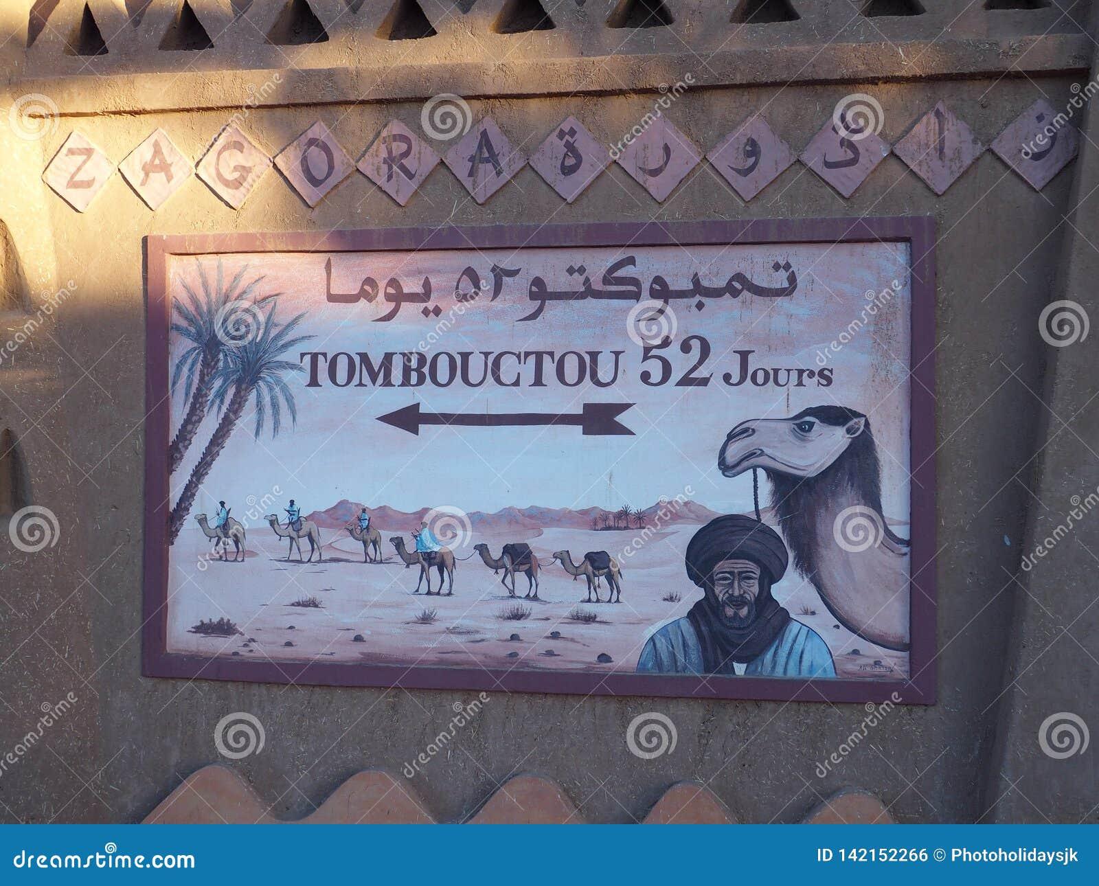 Malowidło ścienne w afrykanina Zagora miasteczku w Maroko, sposoby: 52 dnia Timbuktu w Mali lub wielbłądzie pieszo