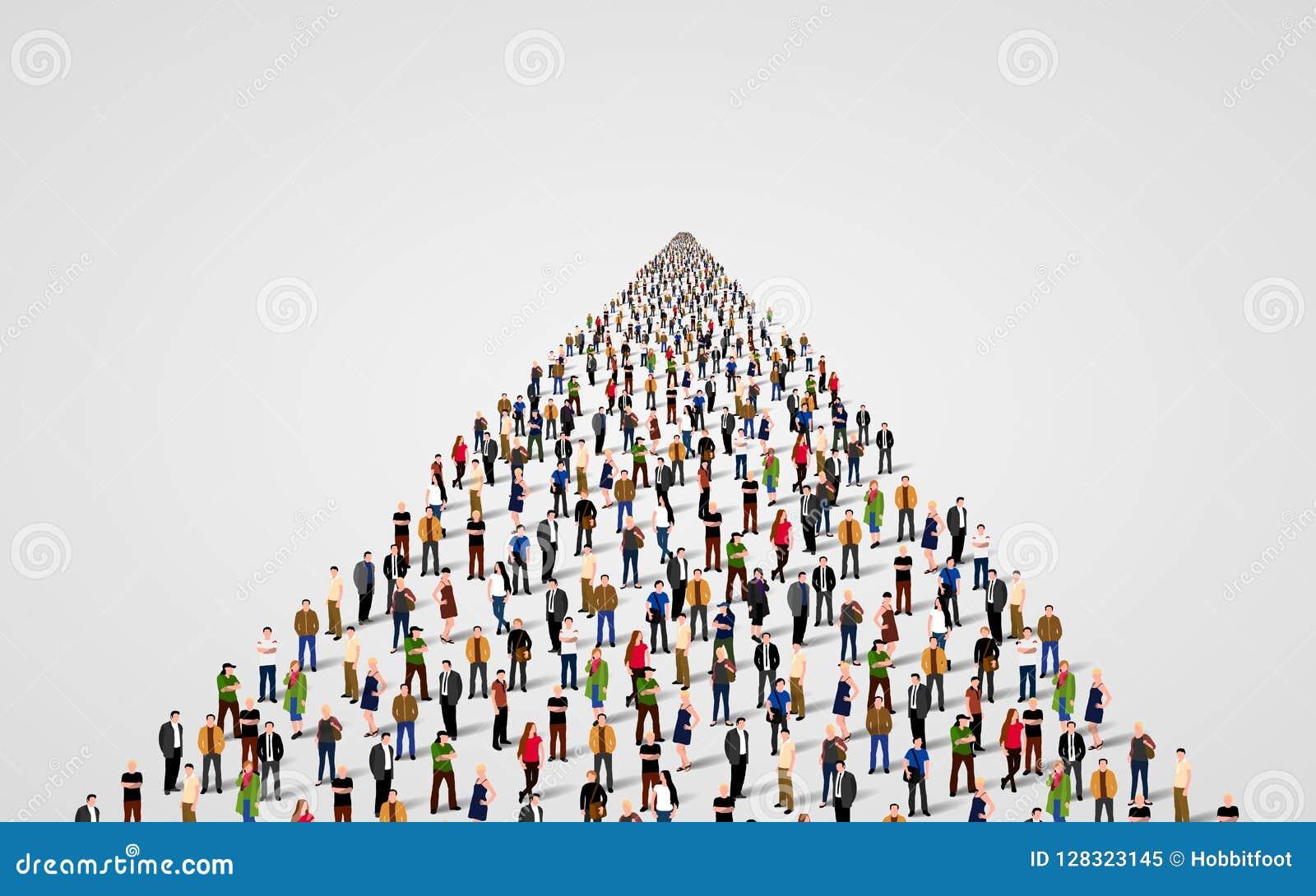 Malplaatje met een menigte van bedrijfsmensen die zich in een lijn bevinden De mensen overbevolken
