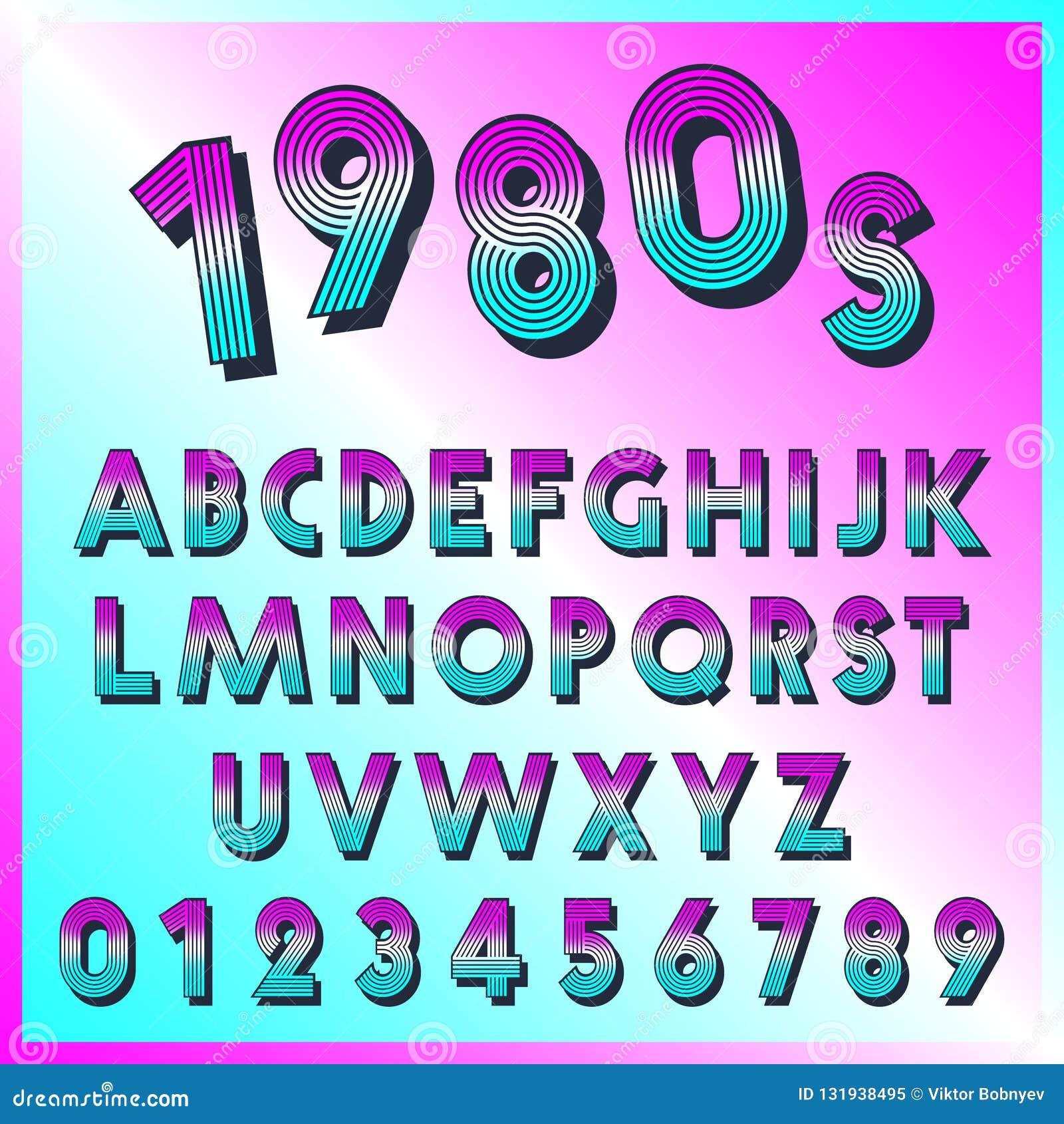 Malplaatje van de de jaren  80 retro doopvont Reeks van letters en getallen lijnen uitstekend ontwerp