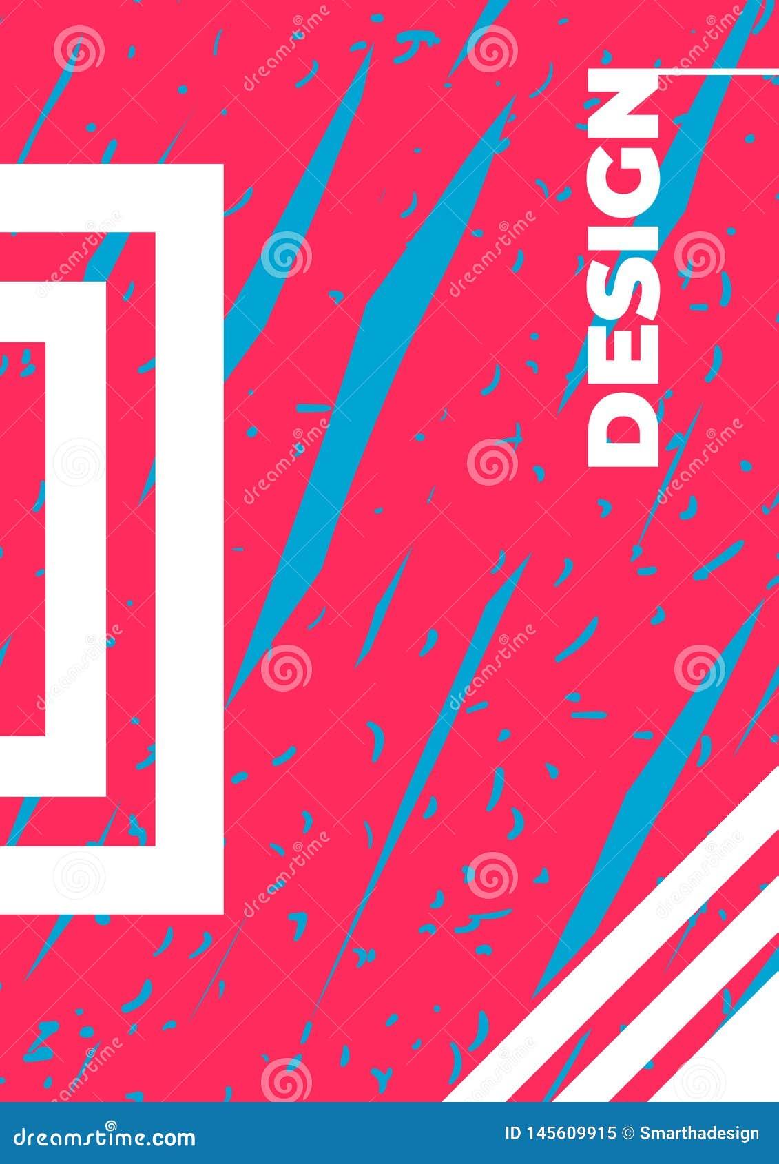 Malplaatje van het affiche het vectormodel Ontwerpt de hand getrokken roze en blauwe illustratieachtergrond, decoratieve elemente