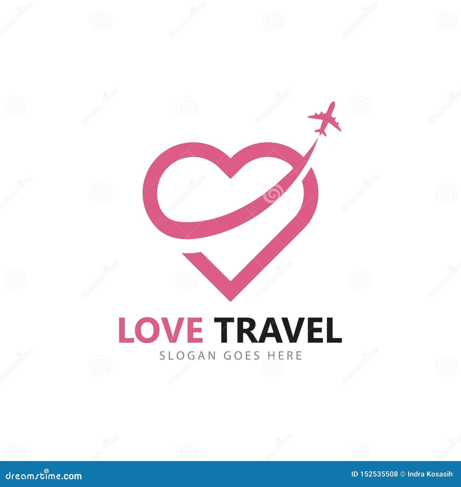 Malplaatje van het het embleem het vectorpictogram van de liefdereis