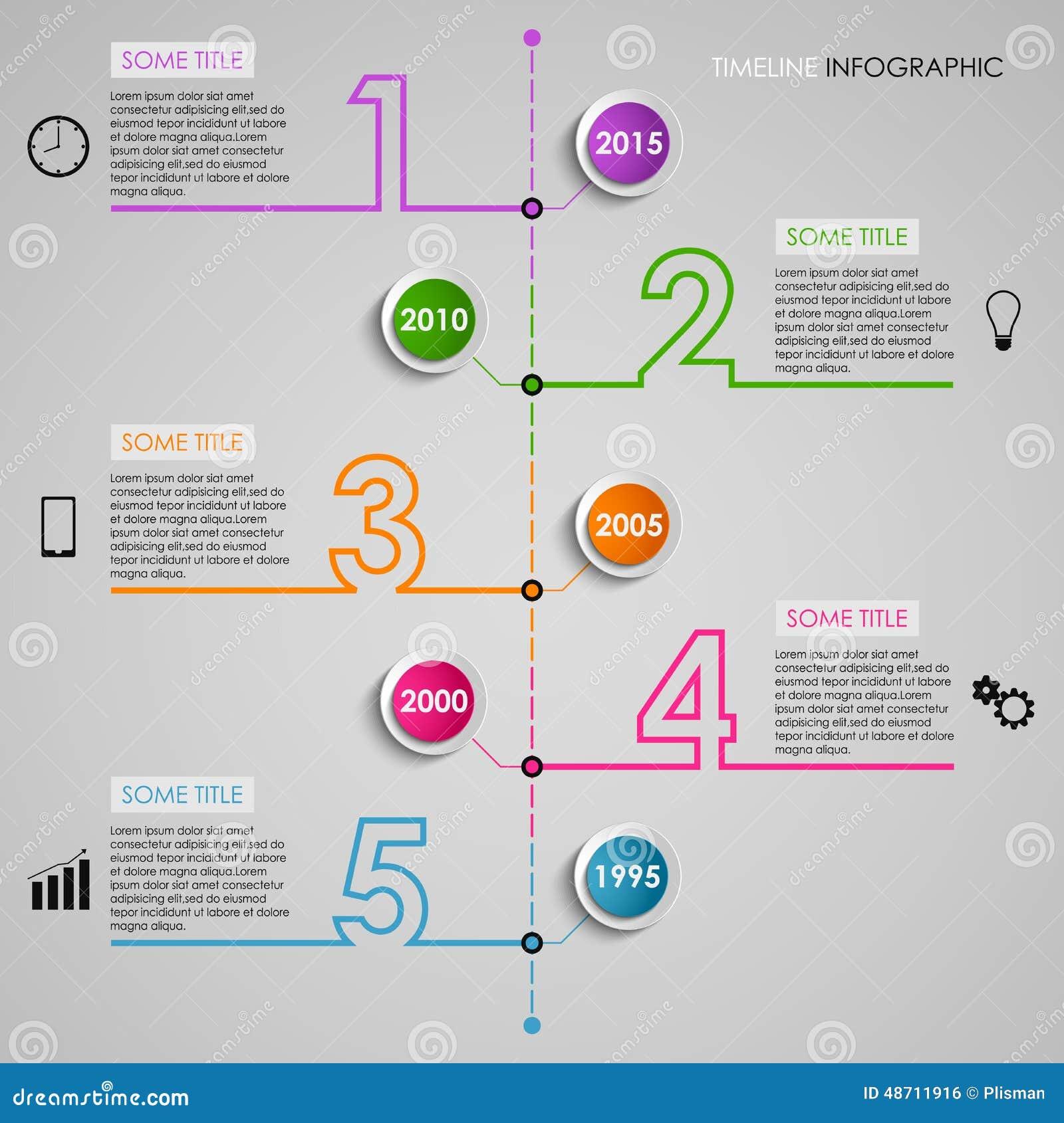 Malplaatje van het het aantalontwerp van de Timel ine informatie het grafische gekleurde