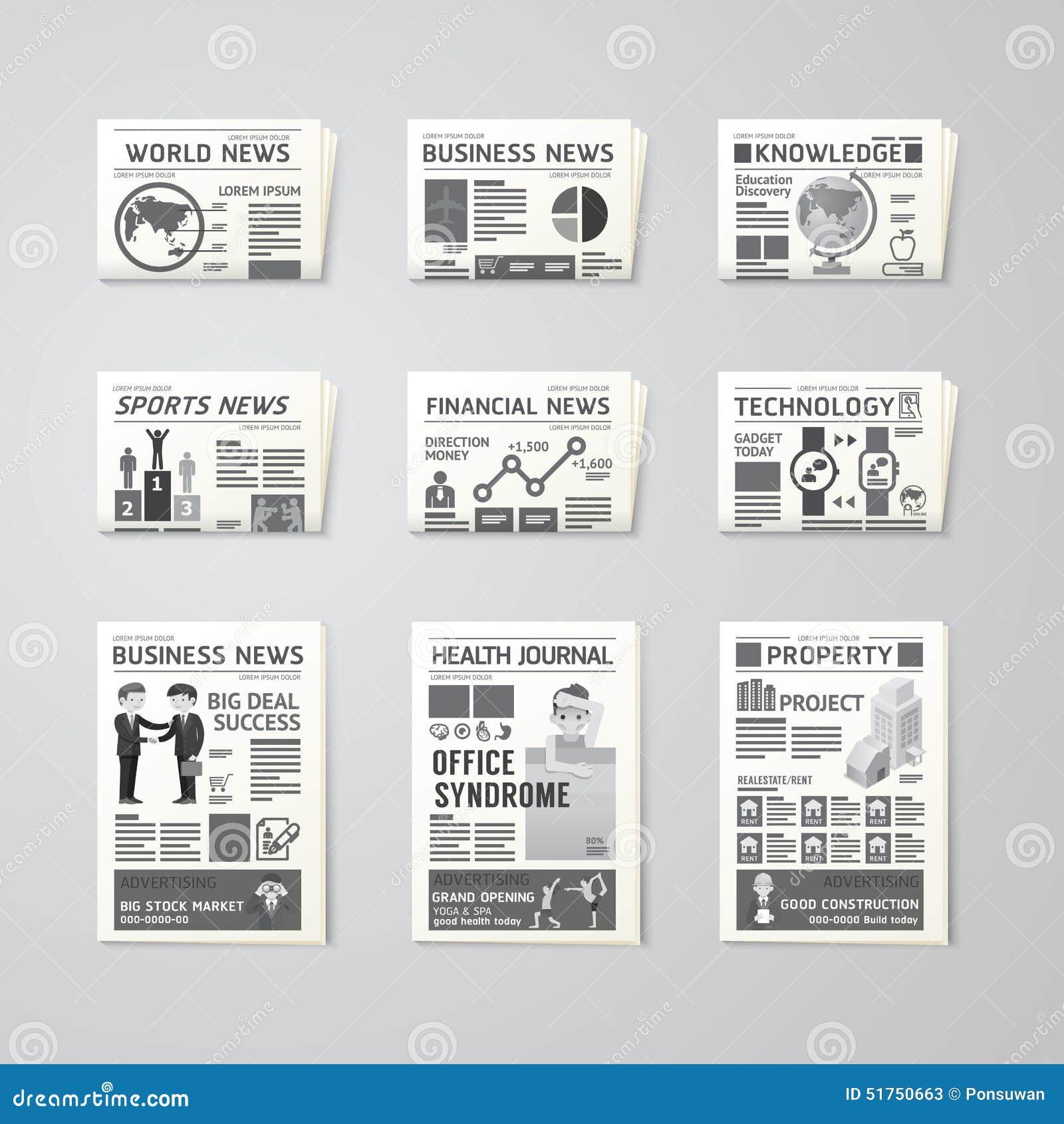 Malplaatje van het kranten het dagelijks vlak vector vastgestelde ontwerp zaken, gezondheid,