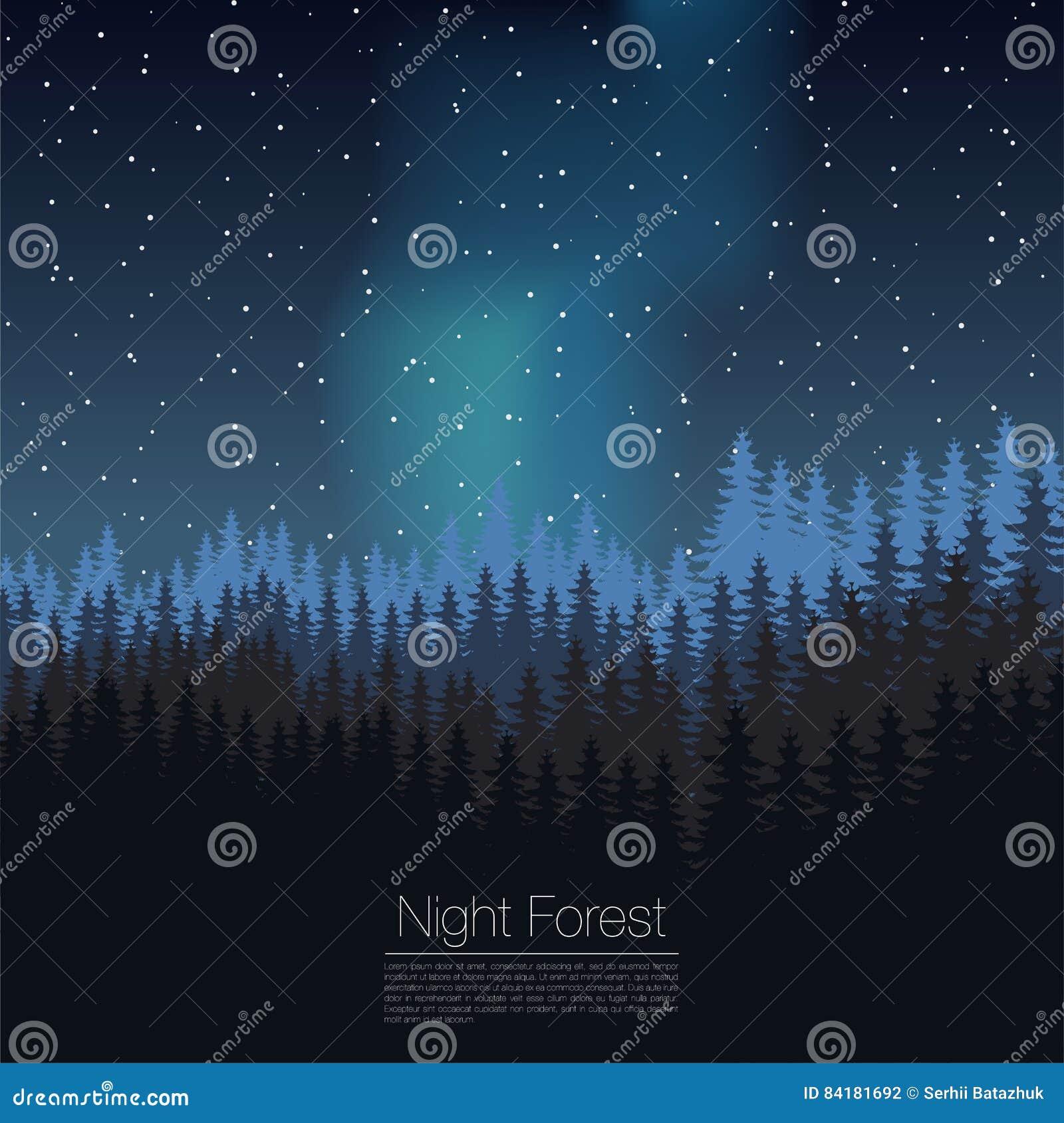 Malplaatje van het nacht het bosontwerp Vector Naald bossilhouetmalplaatje Houtillustratie