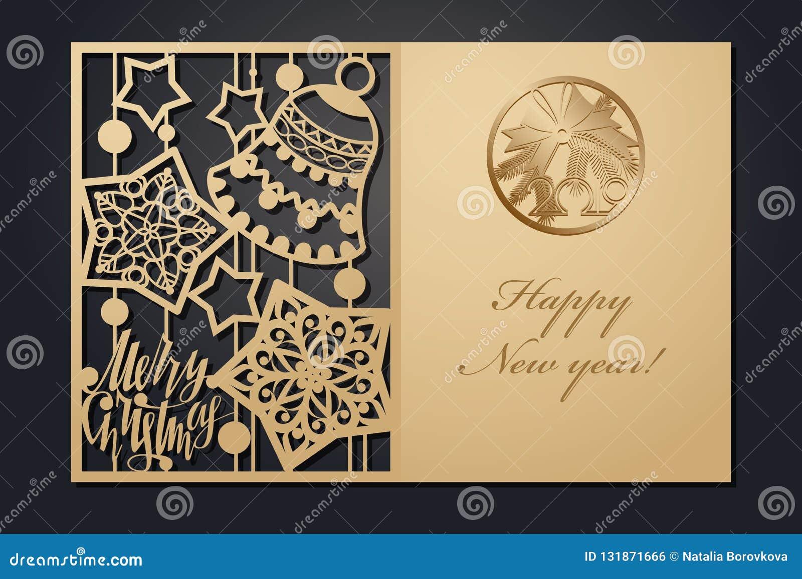 Malplaatjekerstkaarten voor laserknipsel Door het beeld van het silhouetnieuwjaar Vector illustratie