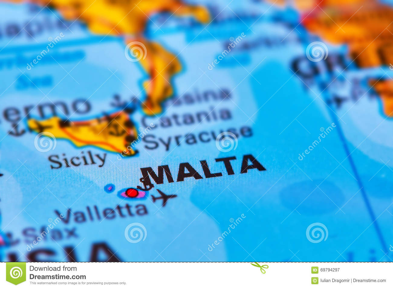 Malta Archipelago On The Map Stock Image - Image of atlas ...