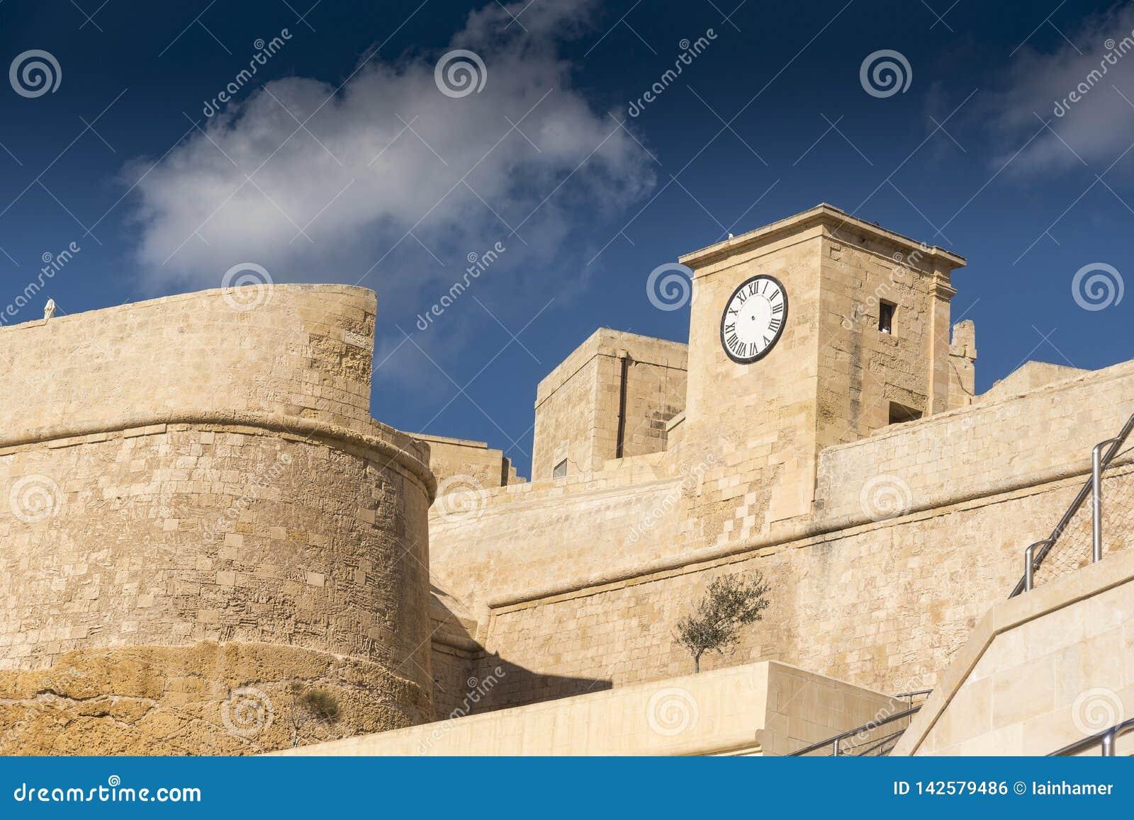 The walls and clock of the Citadel Victoria Gozo