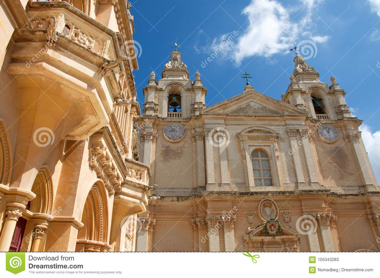 malta mdina luxury baroque architecture stock image image of luxury cathedral 105343283. Black Bedroom Furniture Sets. Home Design Ideas