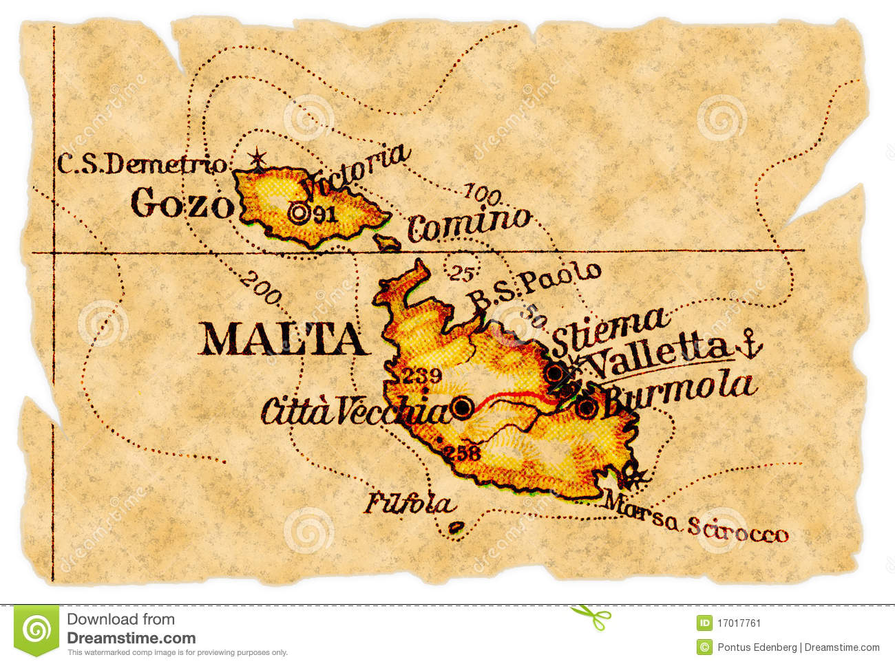 Malta old map stock image. Image of gozo, paper, maps - 17017761
