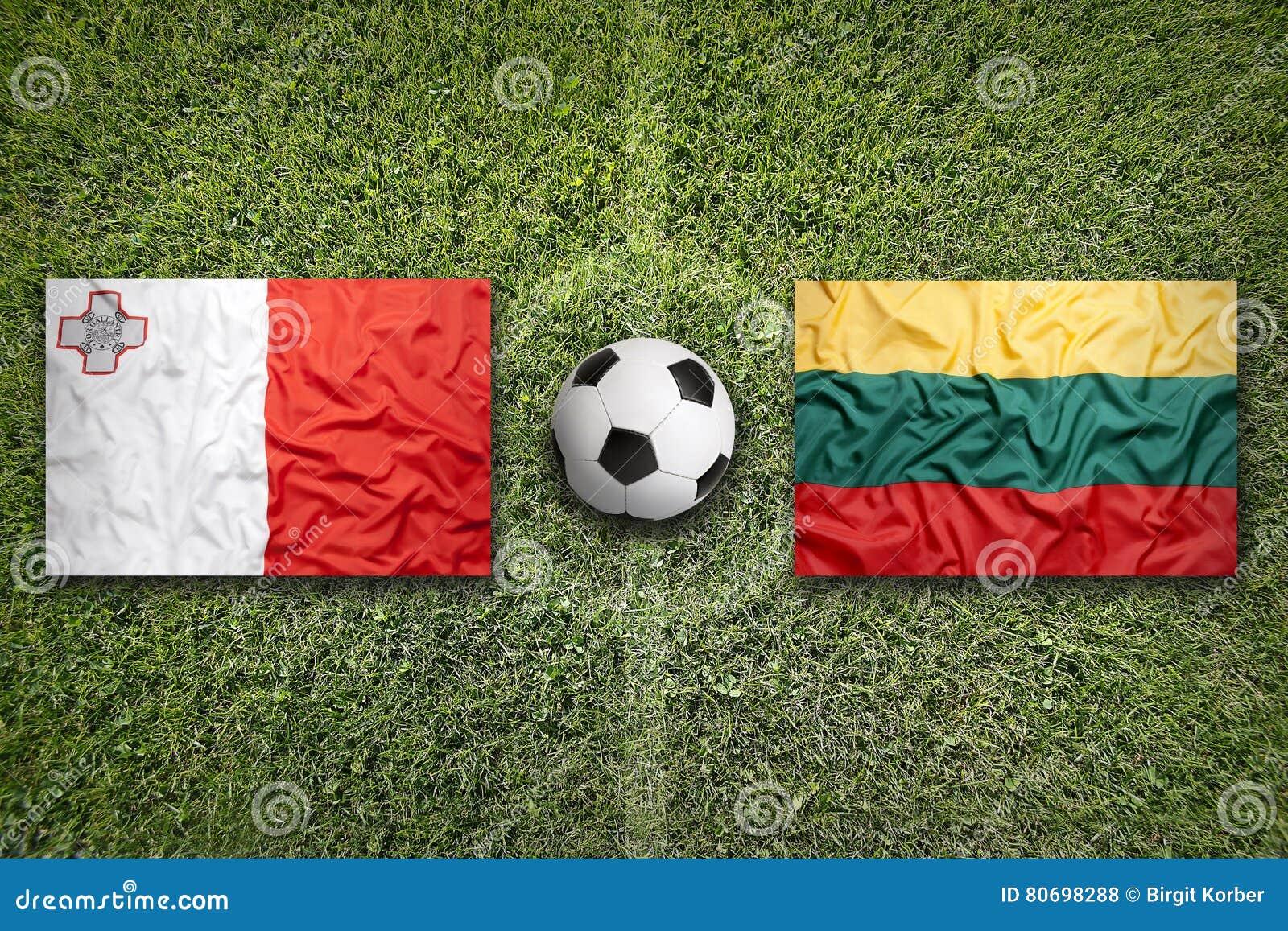 Malta versus De vlaggen van Litouwen op voetbalgebied