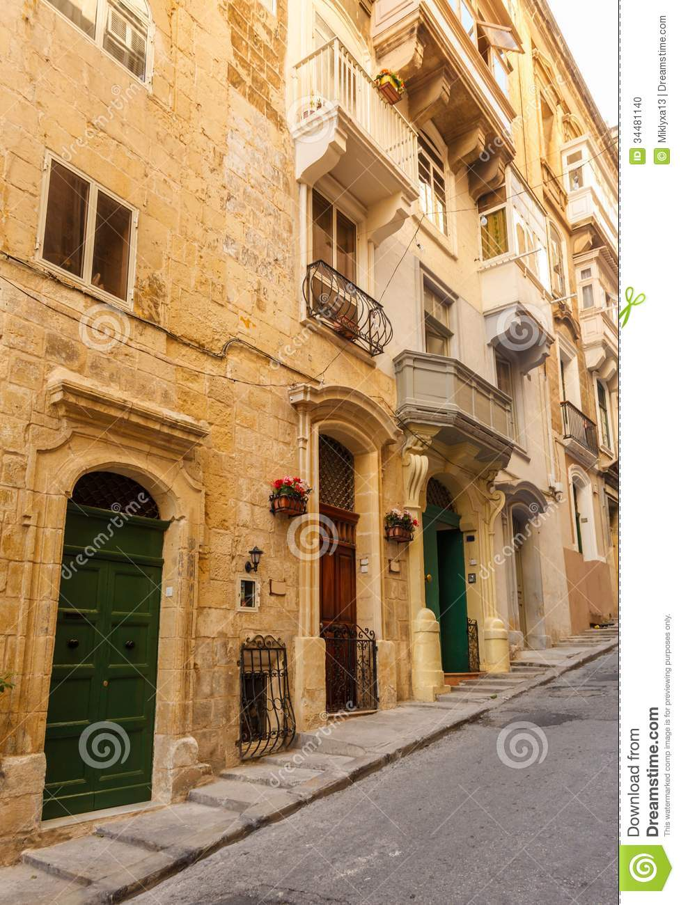 Maltese architecture in valletta malta stock photo for Old traditional houses