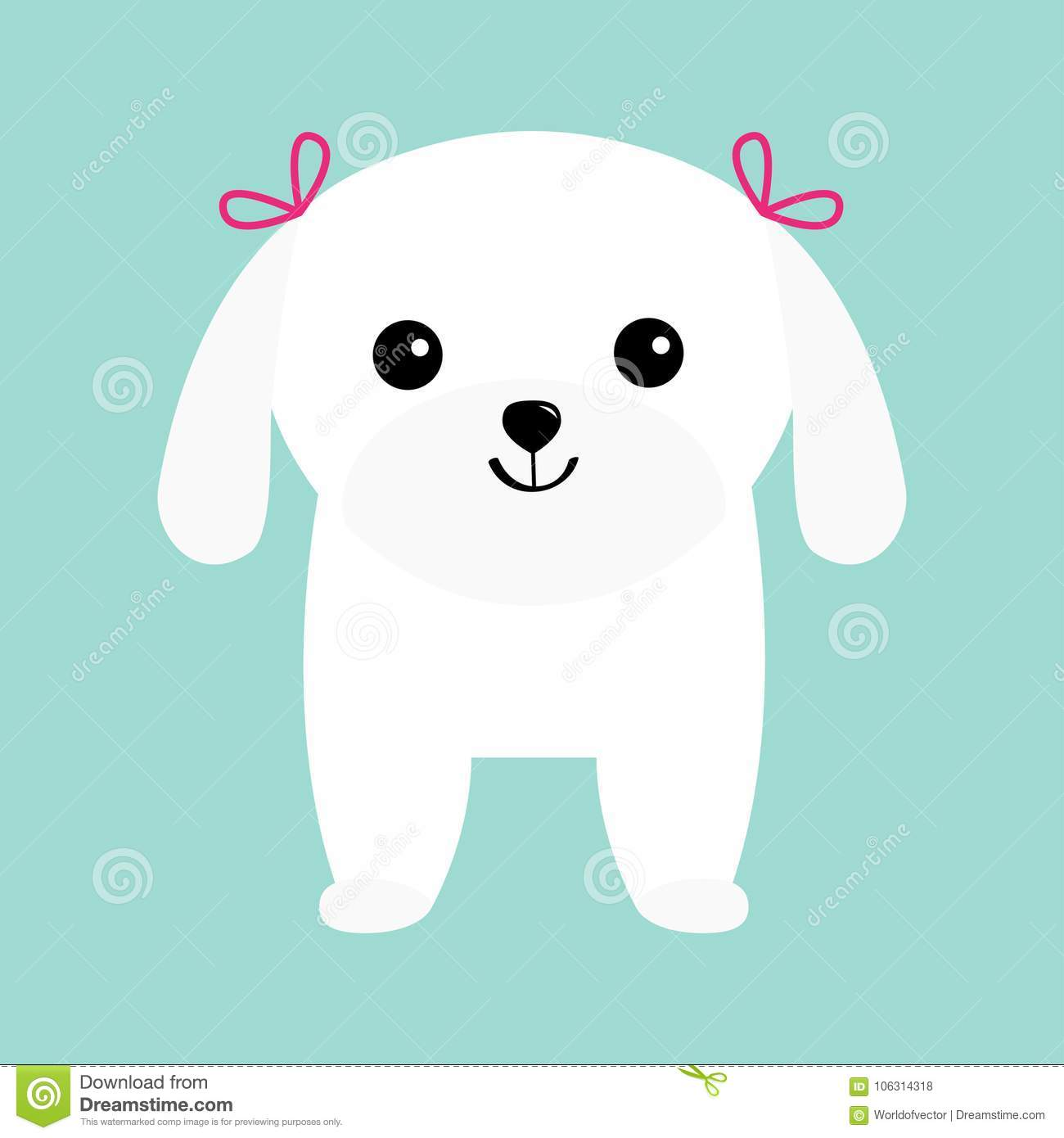 Maltese dog puppy White lapdog. Animal icon set. Cute cartoon character. Pet animal collection. Adopt concept. Flat design. Blue b