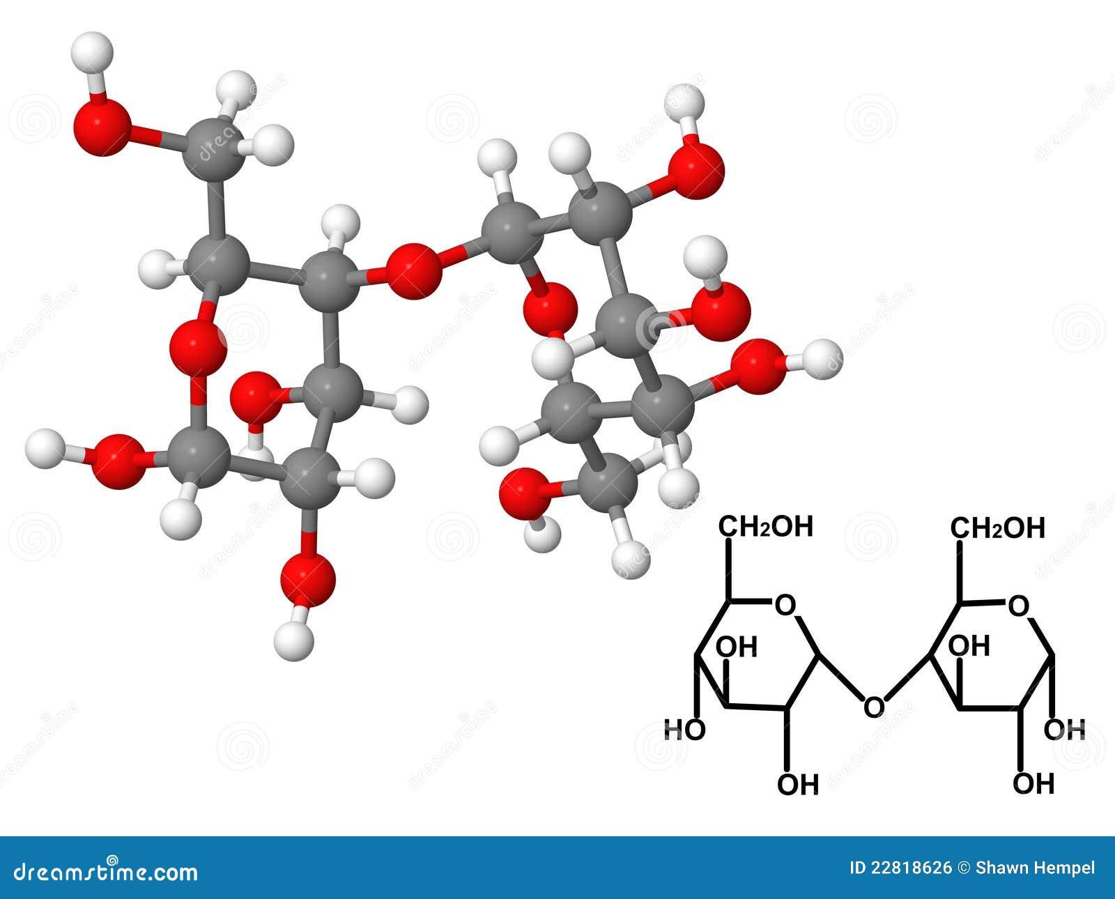 Maltose Molecule With Chemical Formula Stock Illustration