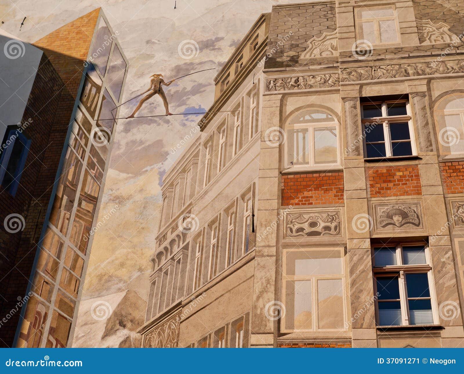 Download Malująca ściana Dom, Halle, Niemcy Zdjęcie Editorial - Obraz złożonej z tancerze, wyobraźnie: 37091271