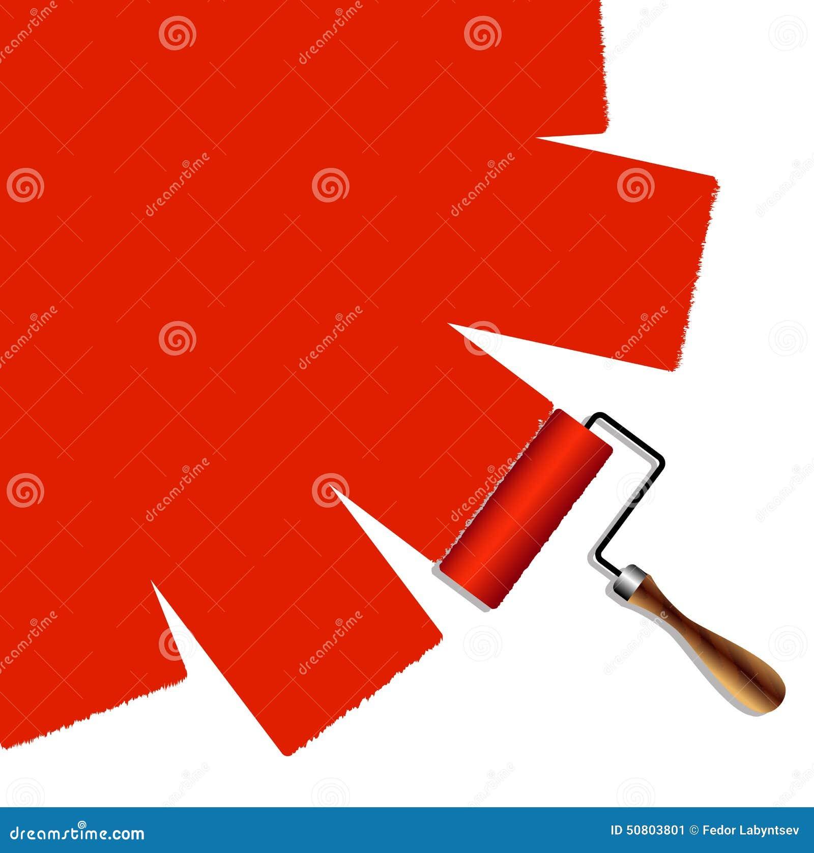 Malująca powierzchnia rolownik z czerwoną farbą