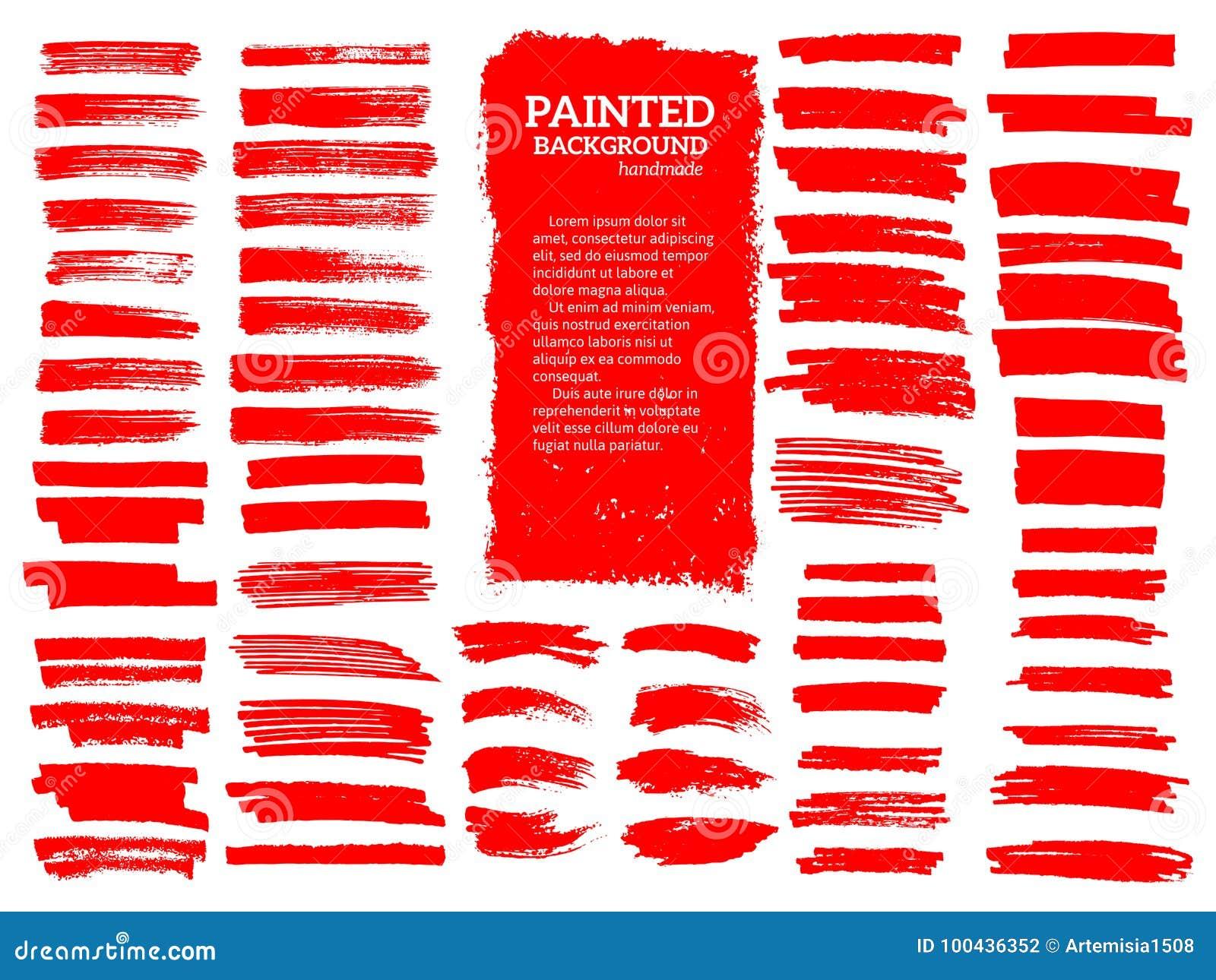 Malujący grunge lampasy ustawiający Czerwone etykietki, tło